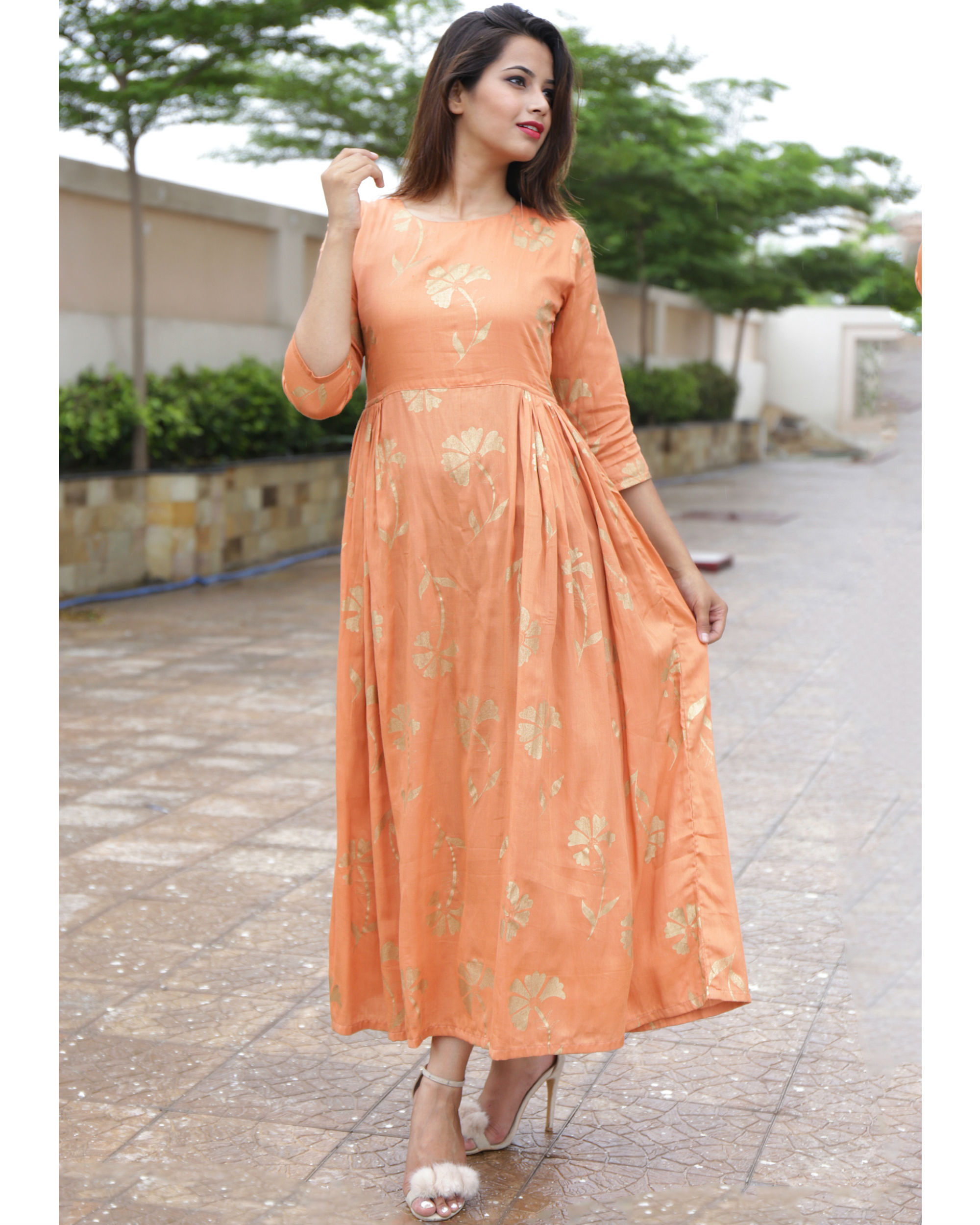 Tangerine foil printed dress