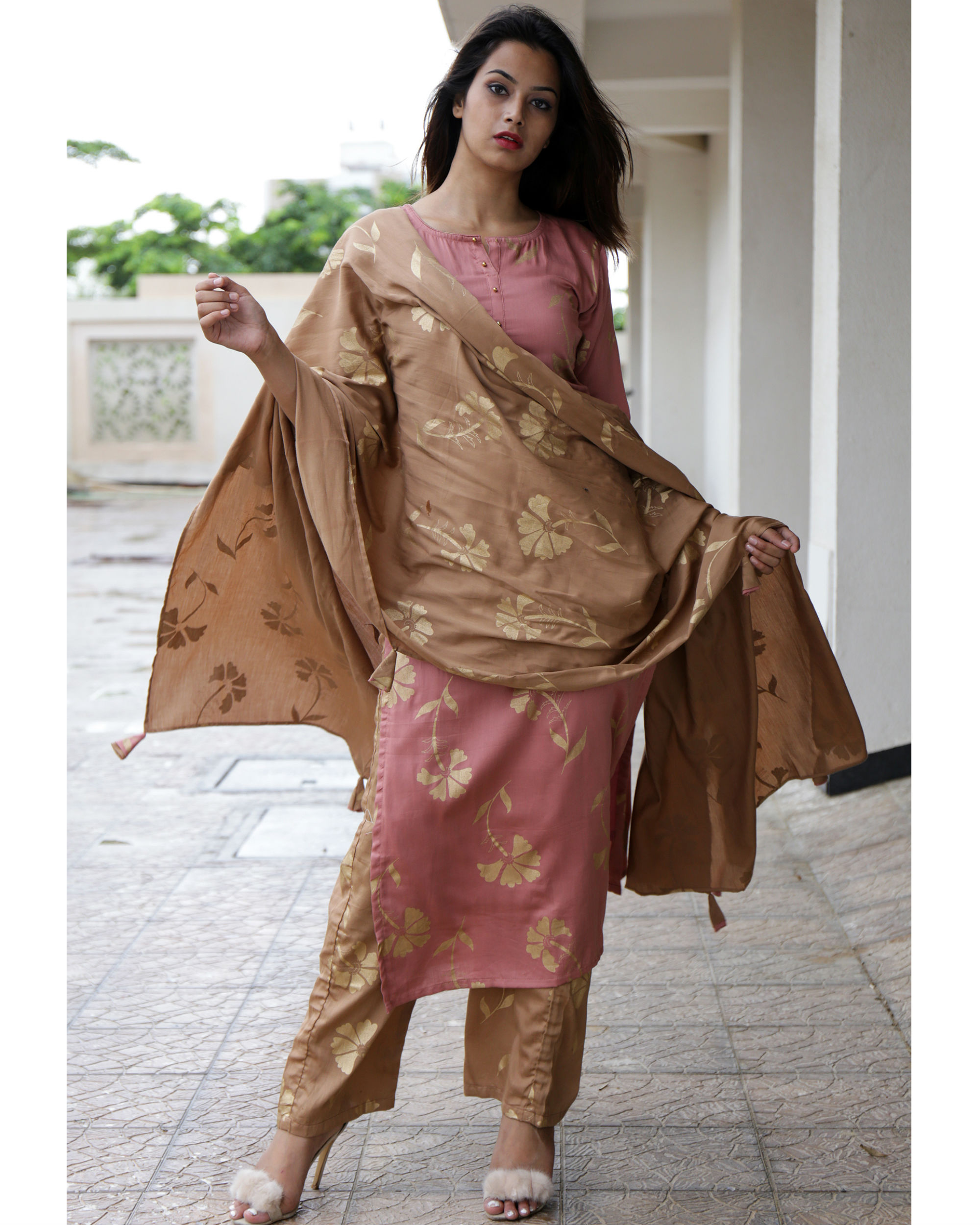 Deep peach kurta set