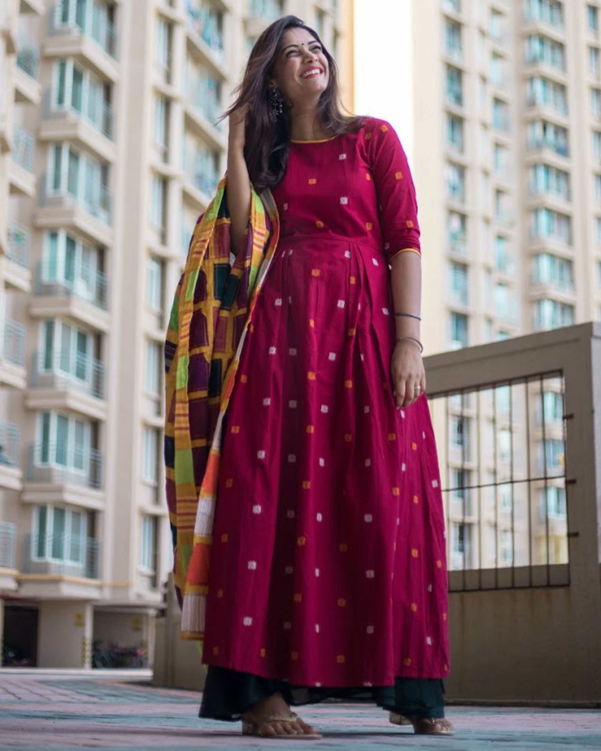 Red Dress With Patch Dupatta