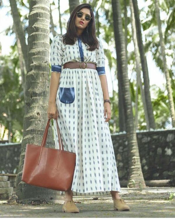 Blue White Ikat Dress