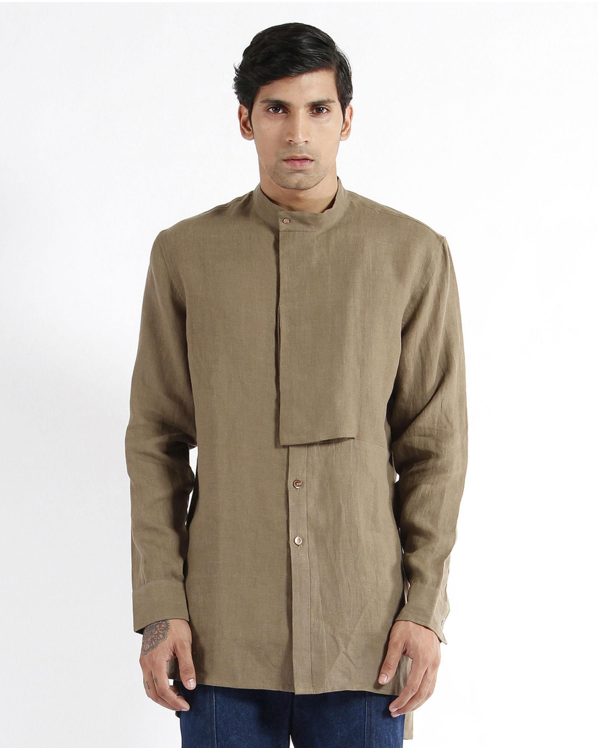 Olive khaki linen embroidered tunic shirt