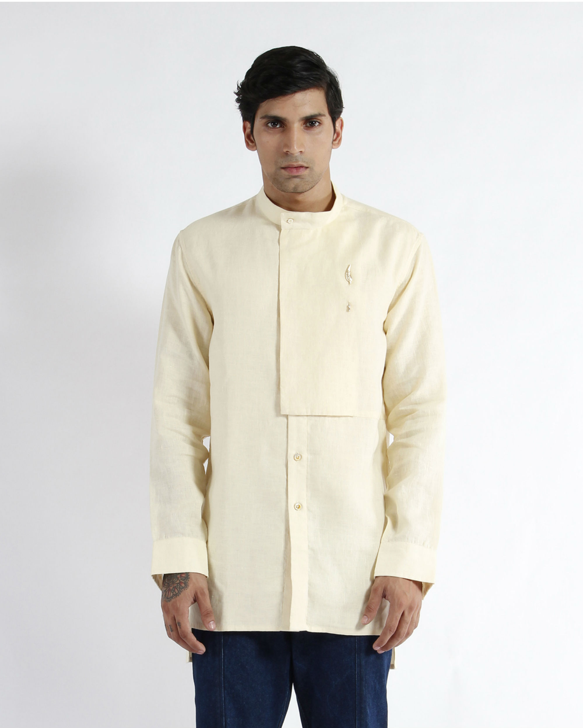 Off white linen embroidered tunic shirt