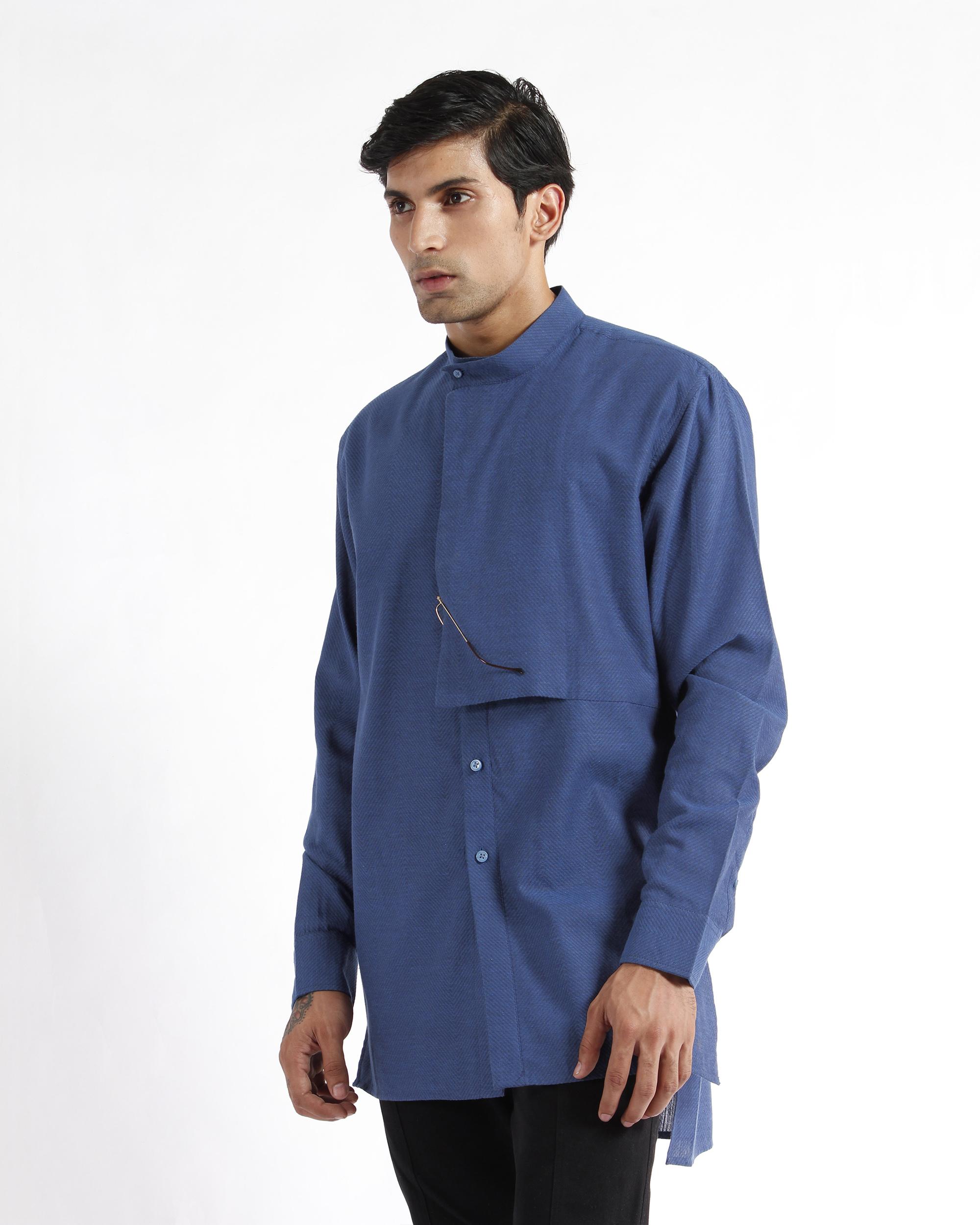 Indigo handwoven chevron cotton tunic shirt