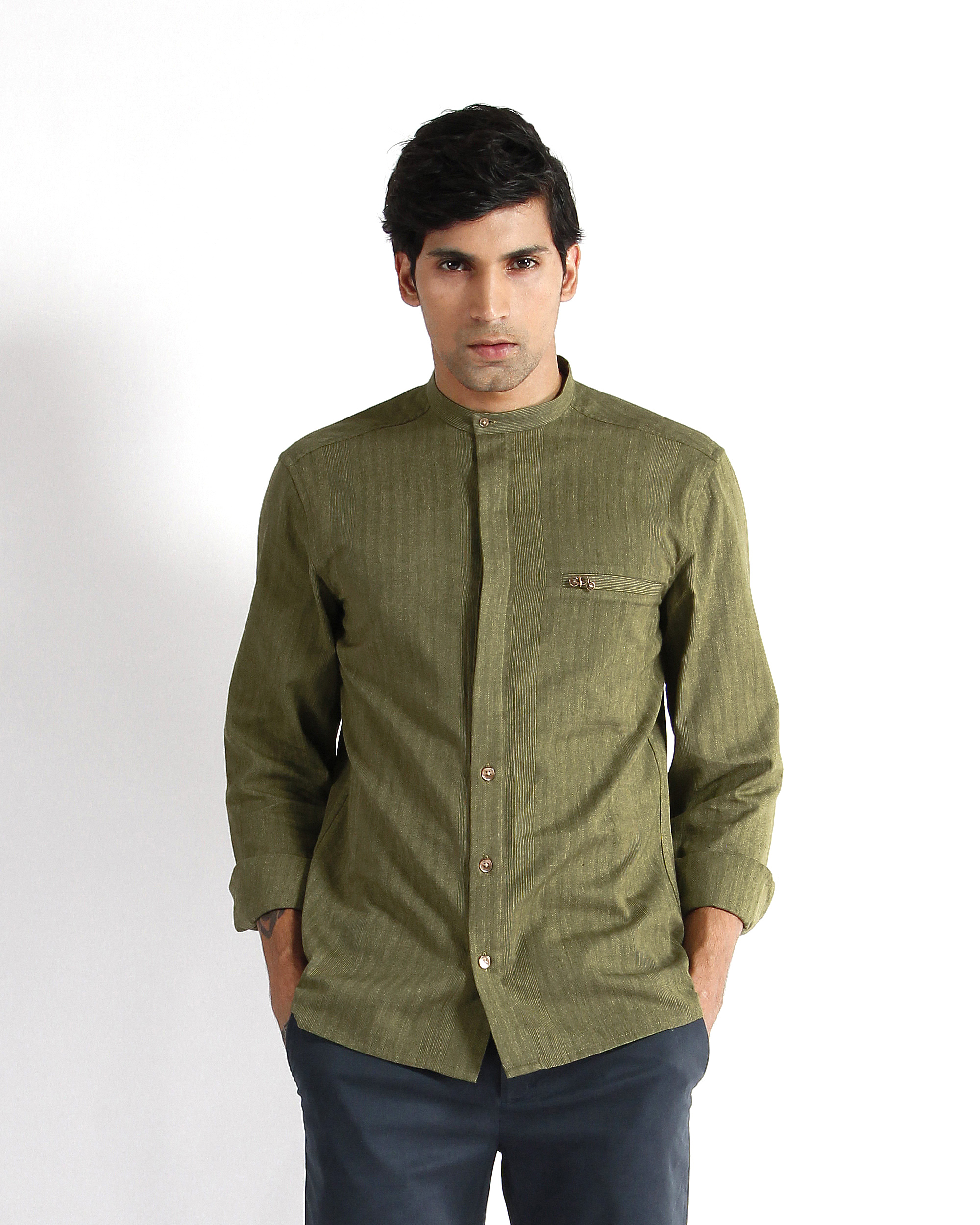 Olive handloom chevron cotton dress shirt