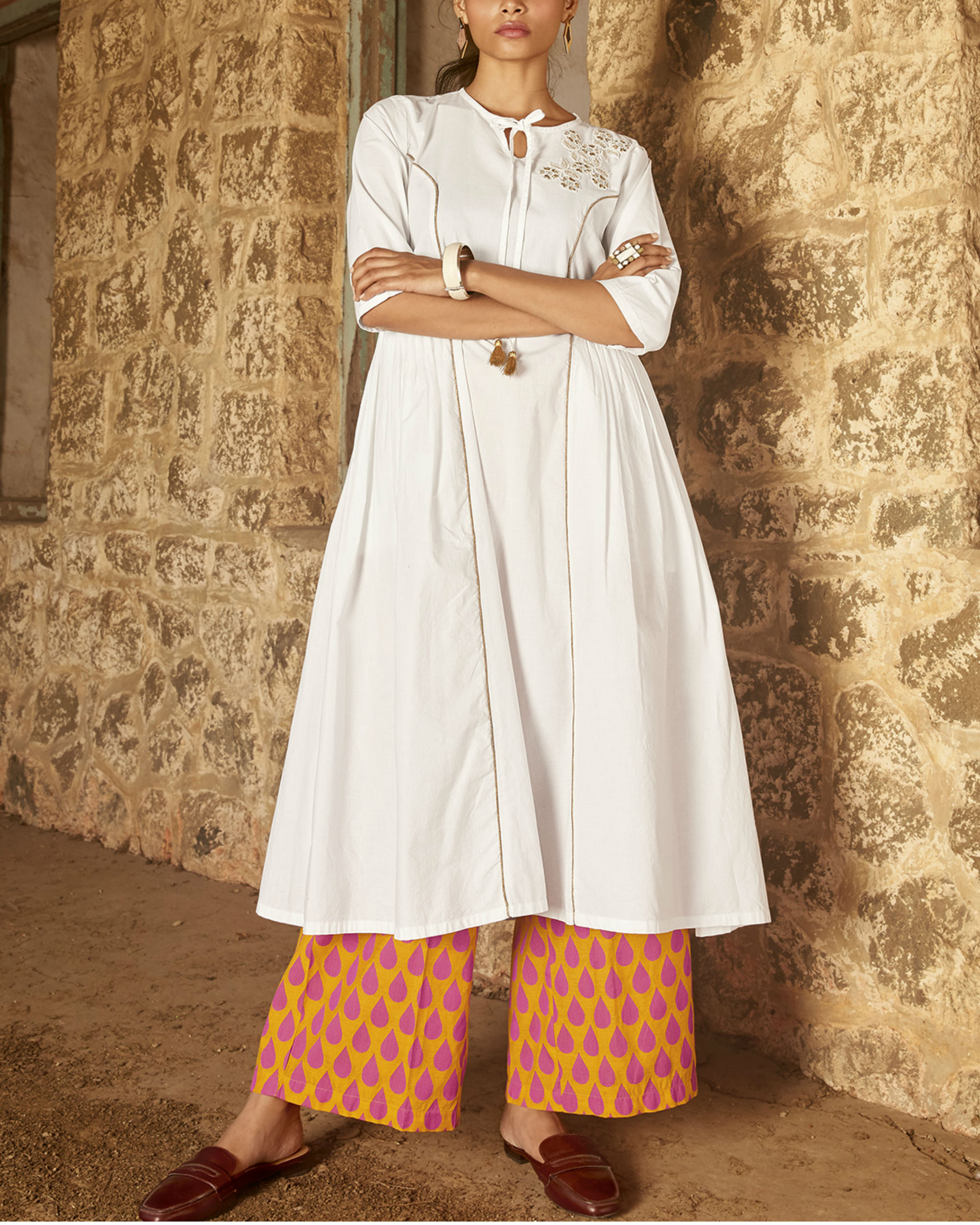 Set of White kurta with orange palazzo