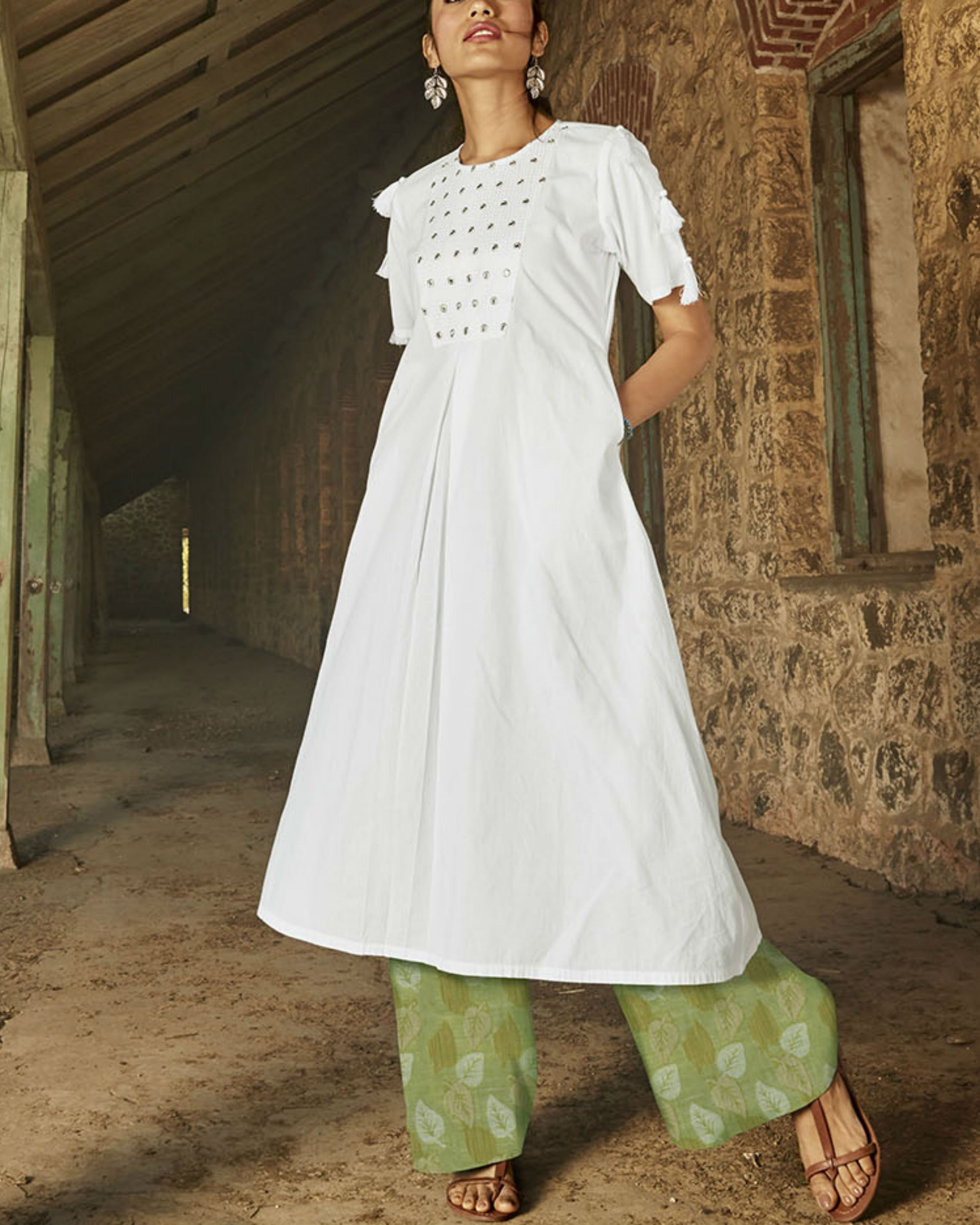 Set of White kurta with Green palazzo