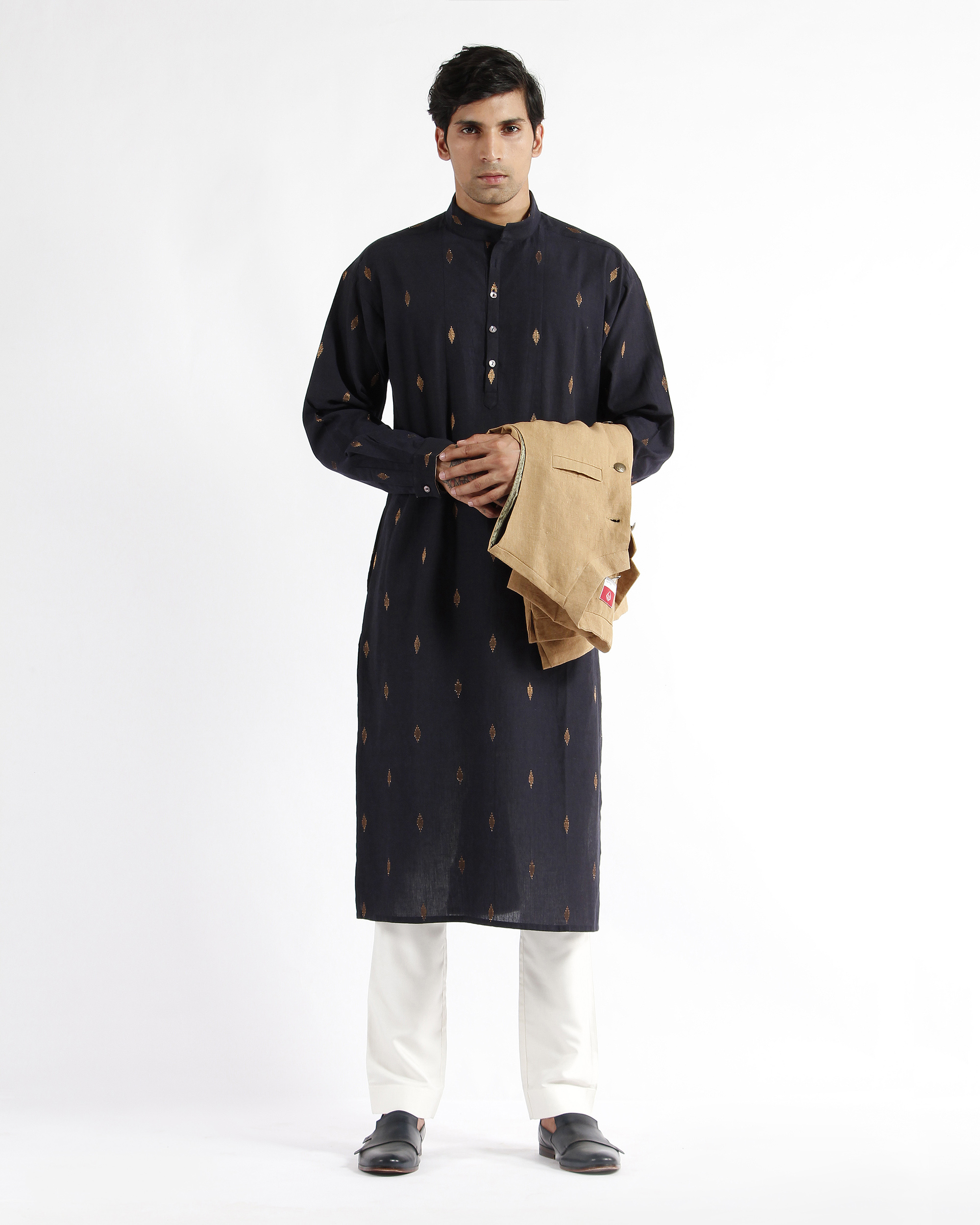 Navy handwoven cotton drop shoulder kurta