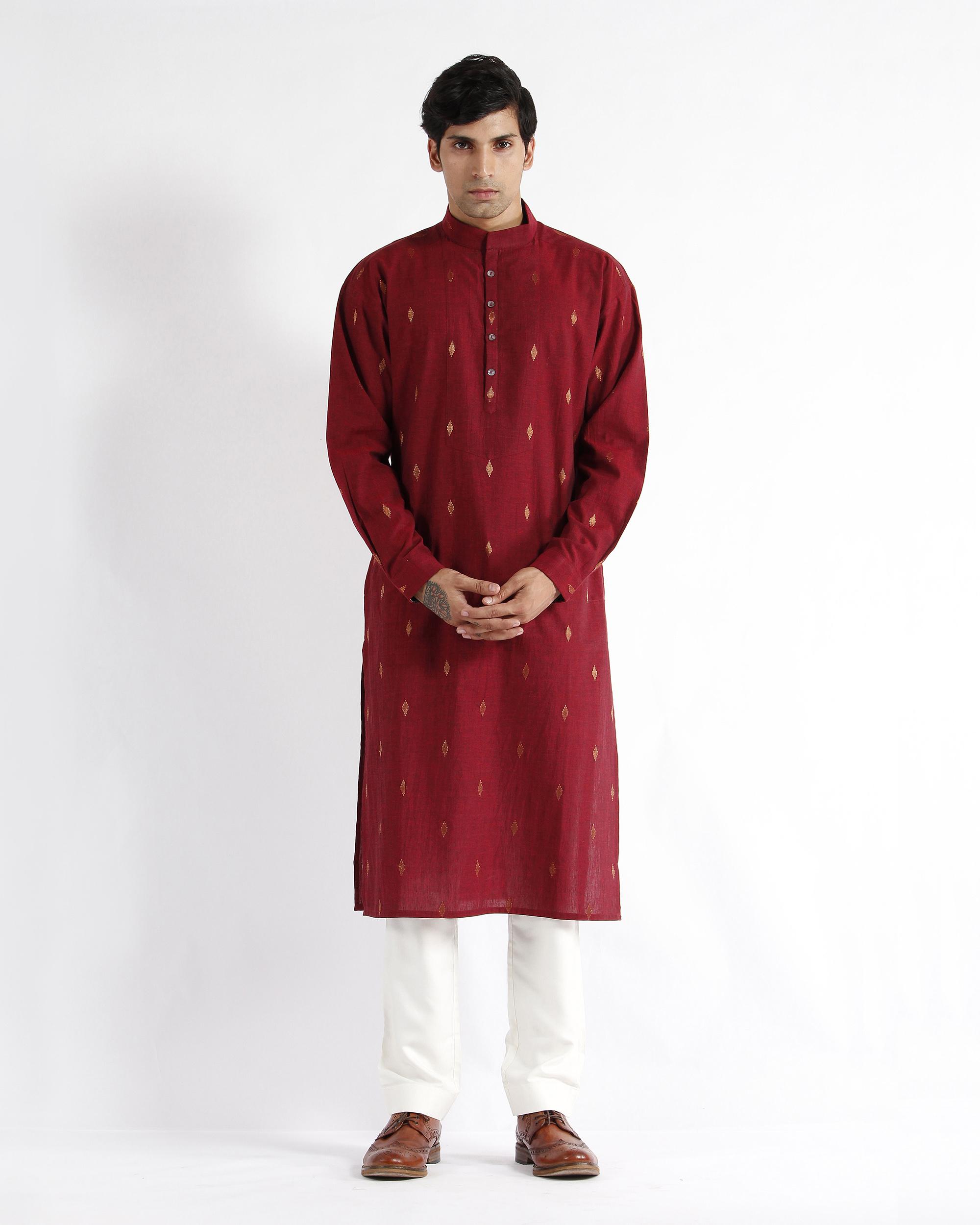 Maroon handwoven cotton drop shoulder kurta