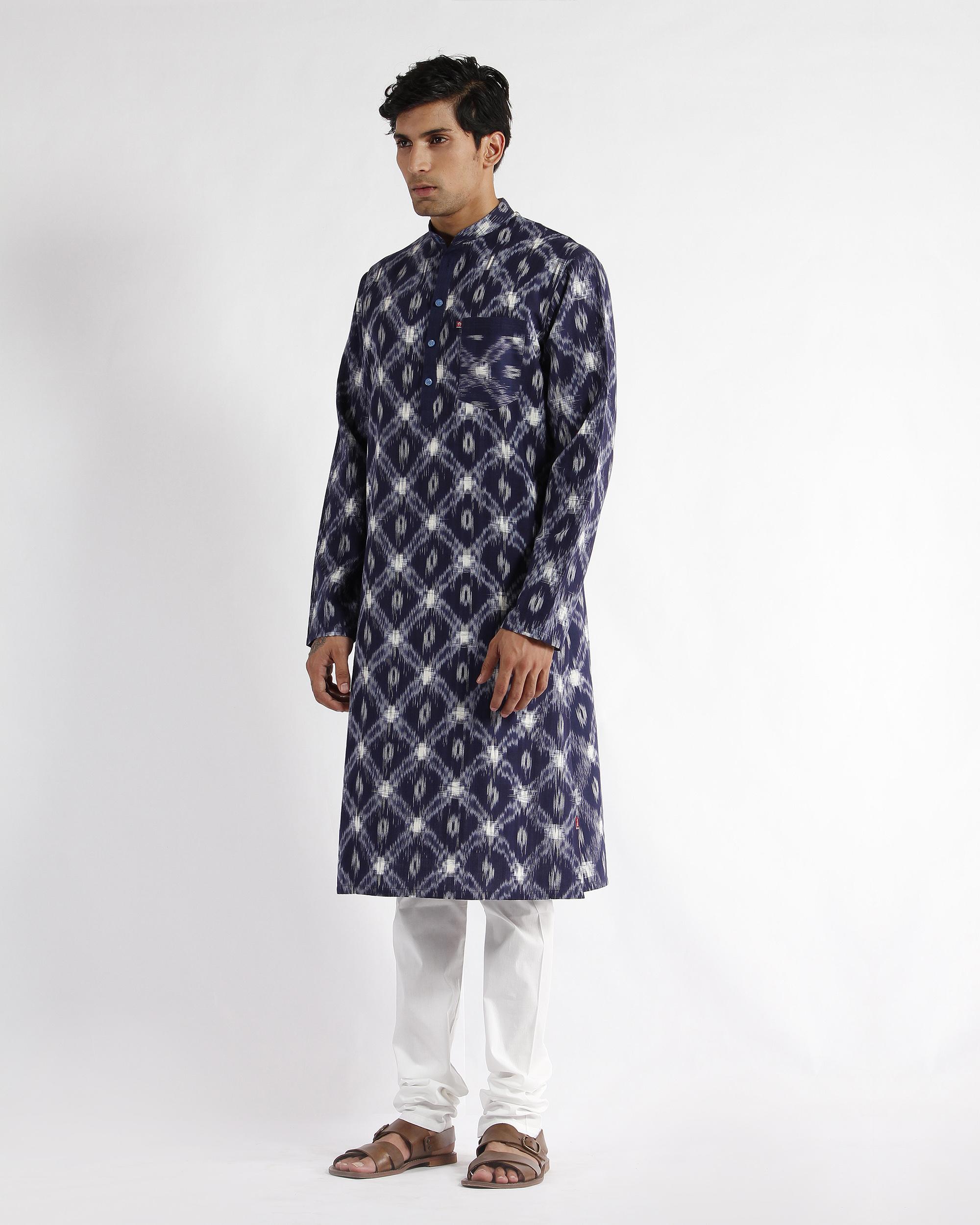 Blue handloom ikat cotton long kurta