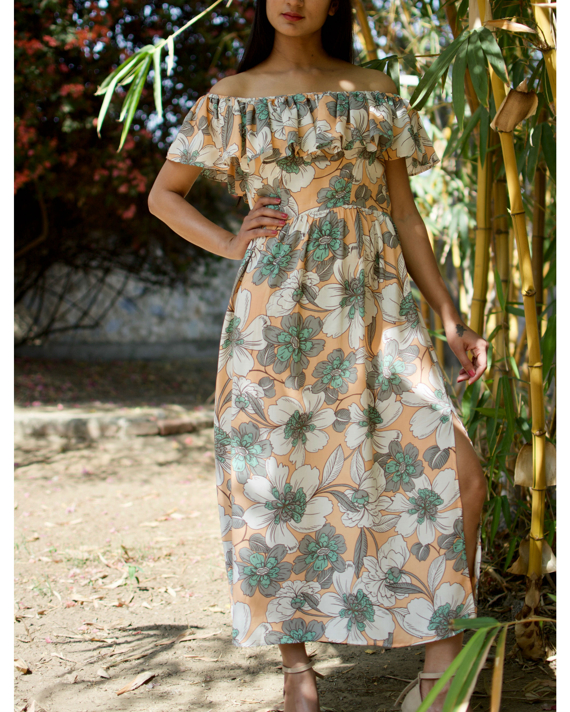 Peach Cotton Rayon Floral Dress