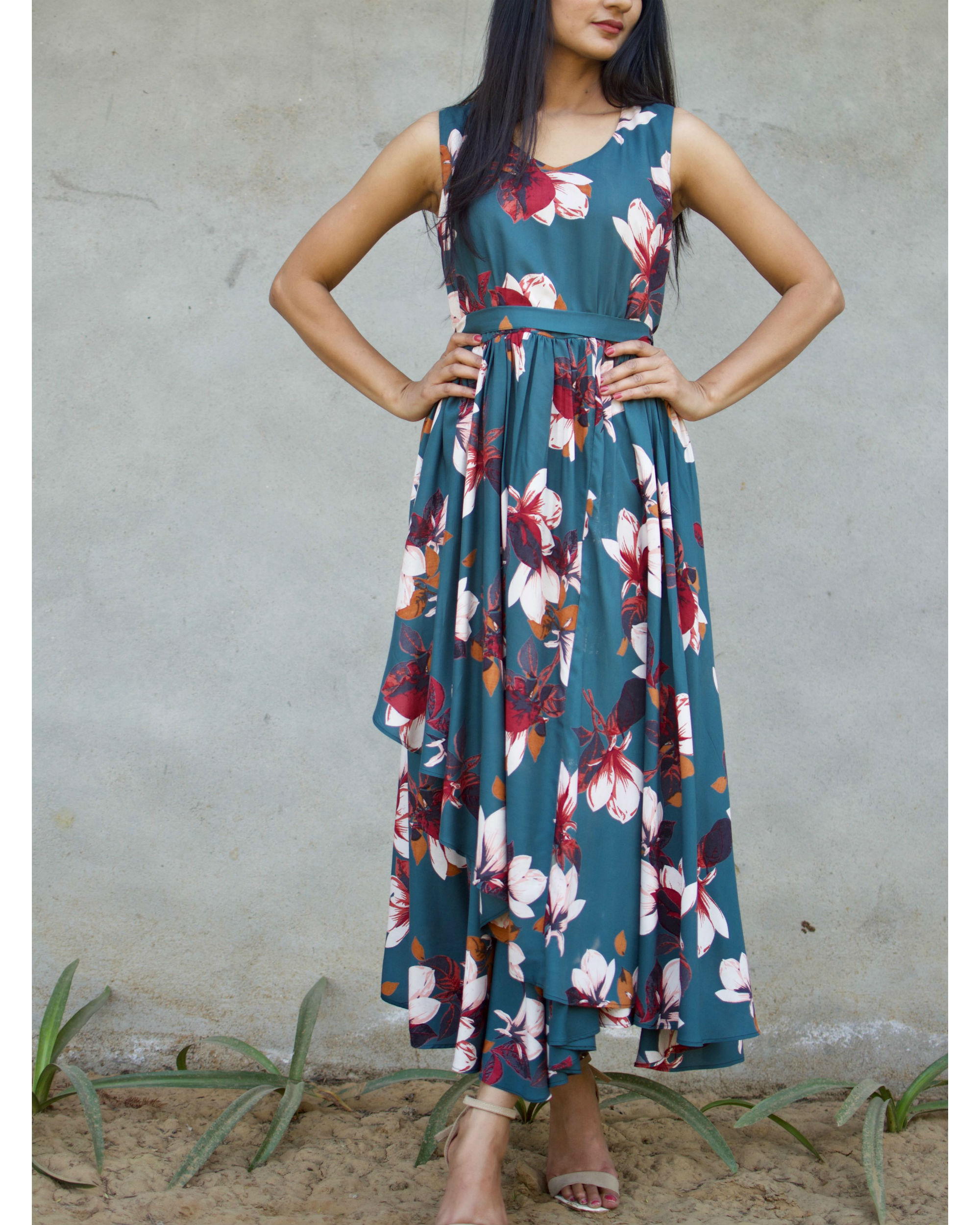Deep Turquoise Floral Dress