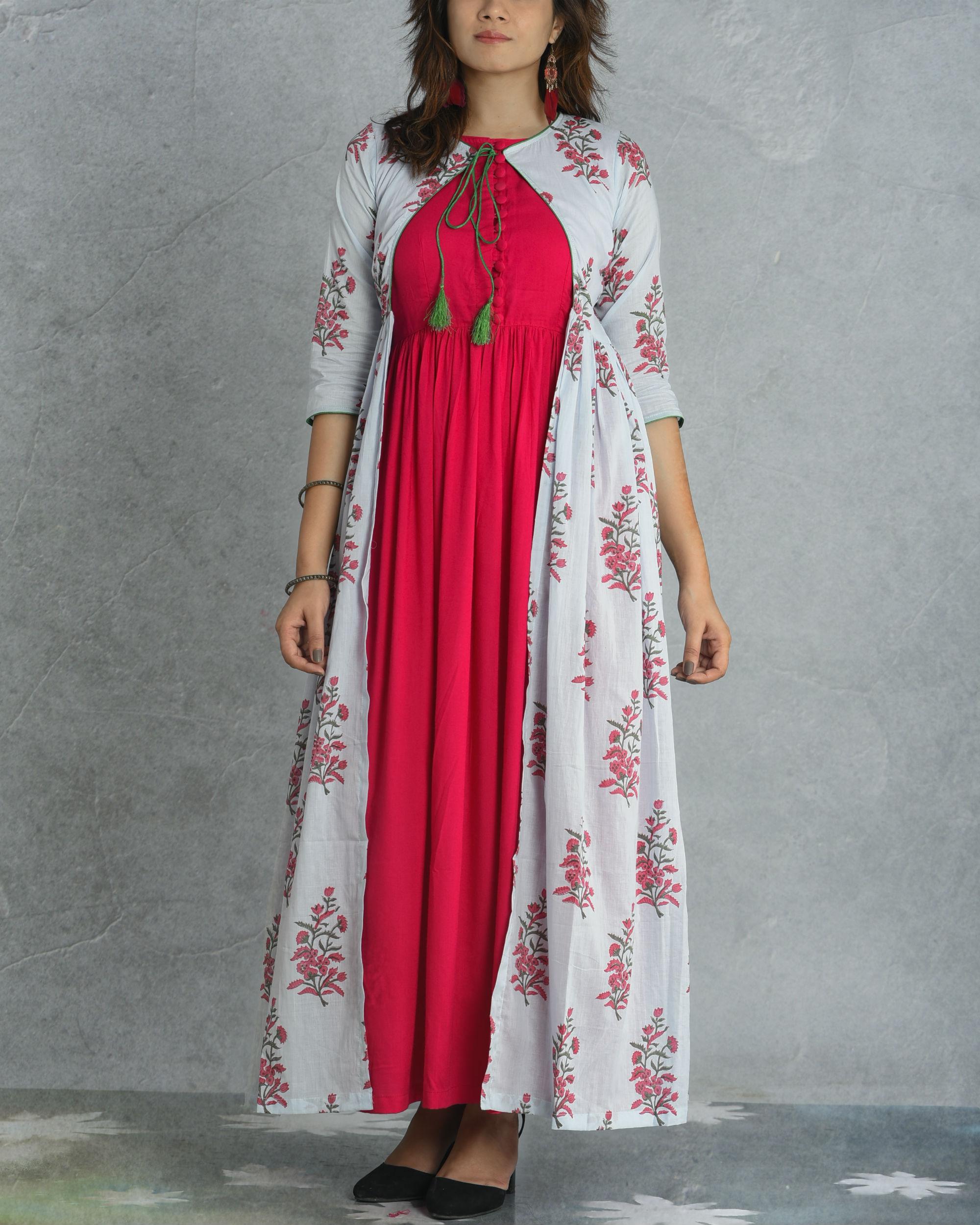 Pink gathered jacket dress