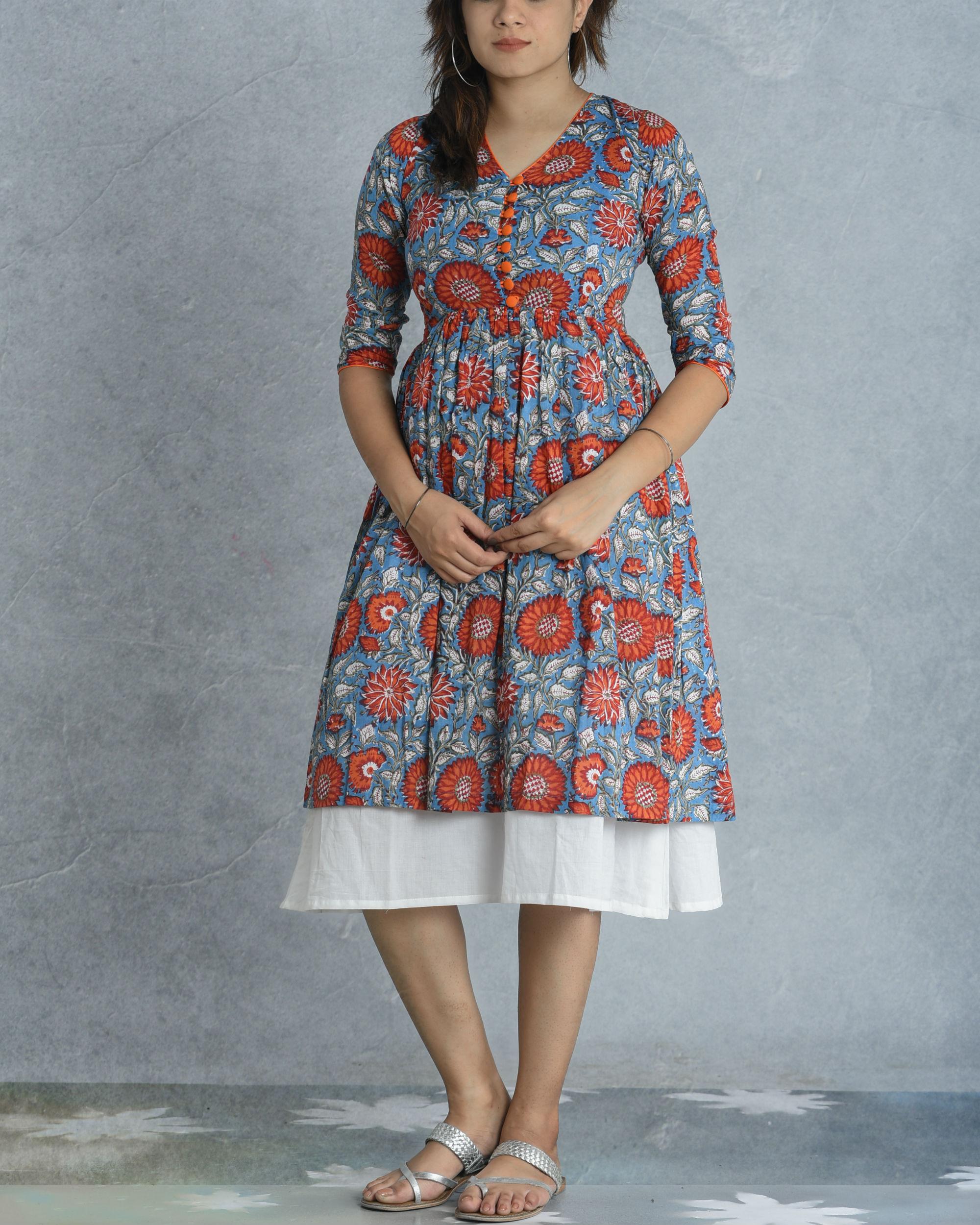 Teal border dress