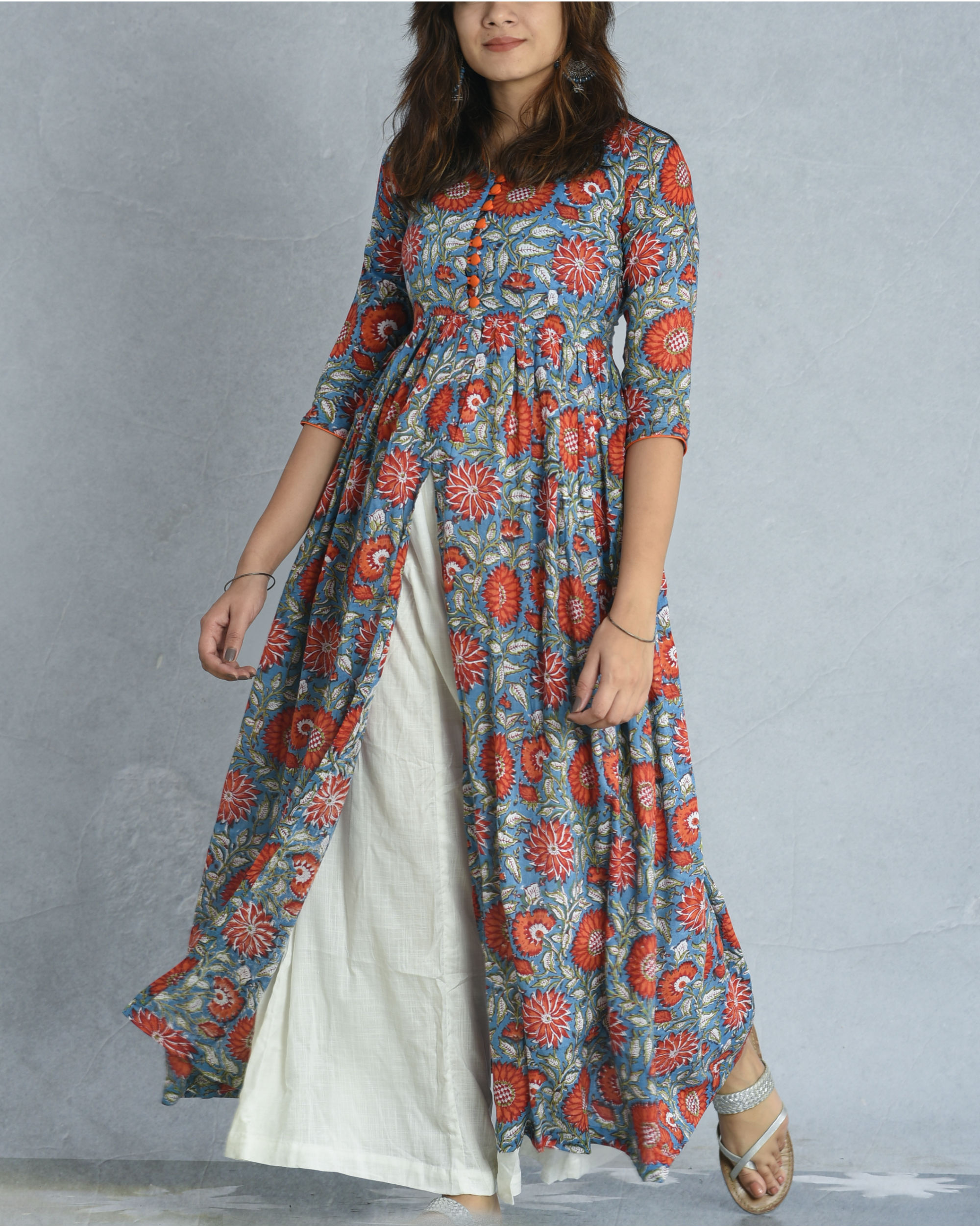 Teal floral cape