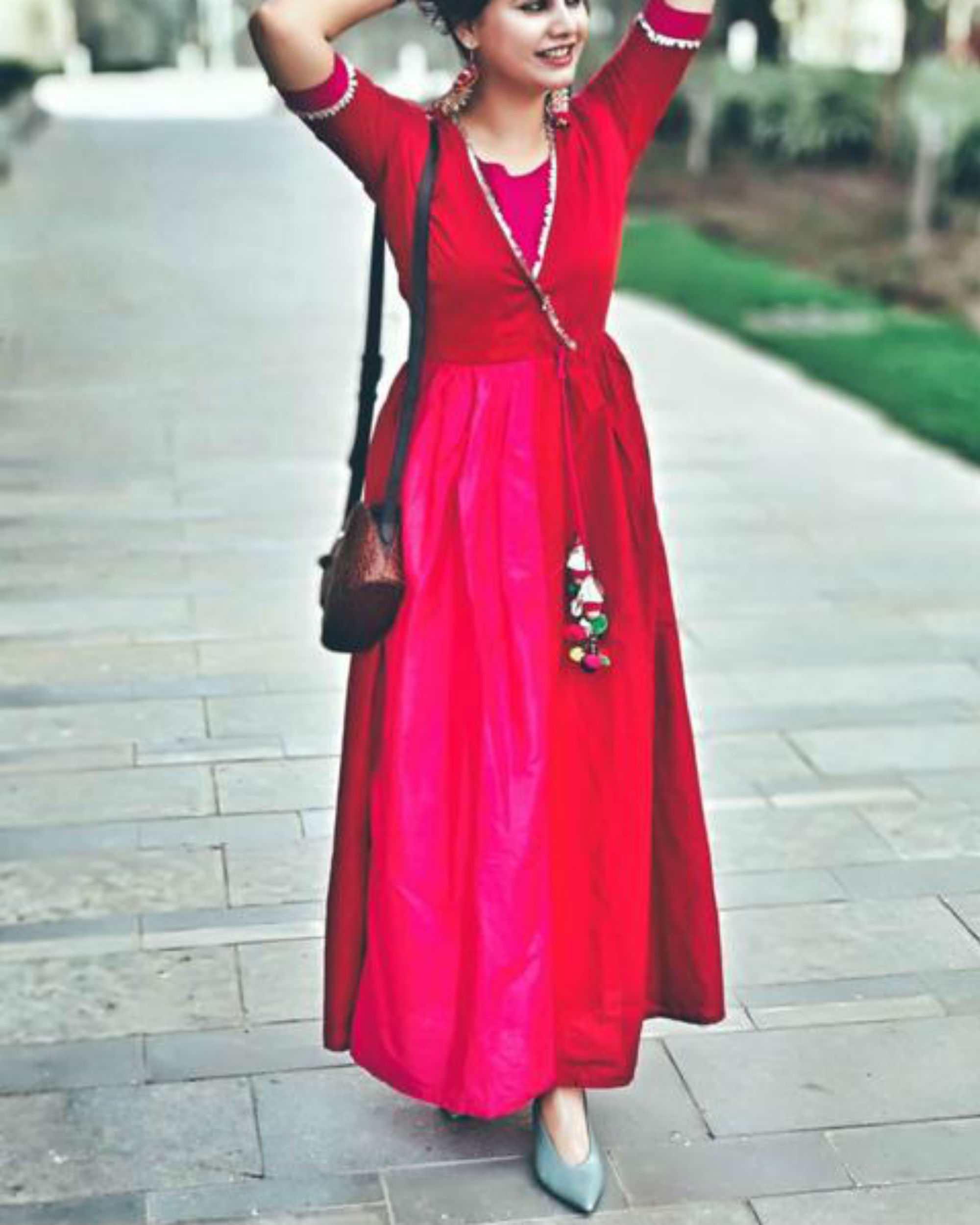 Red and pink shaded maxi