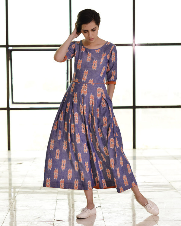 Indigo and tangerine box pleat maxi