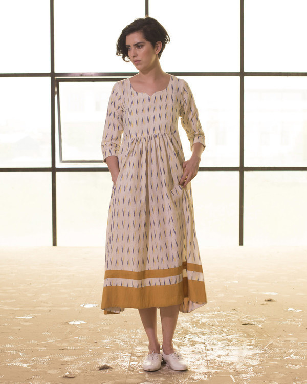 Ivory and mustard ikat frock