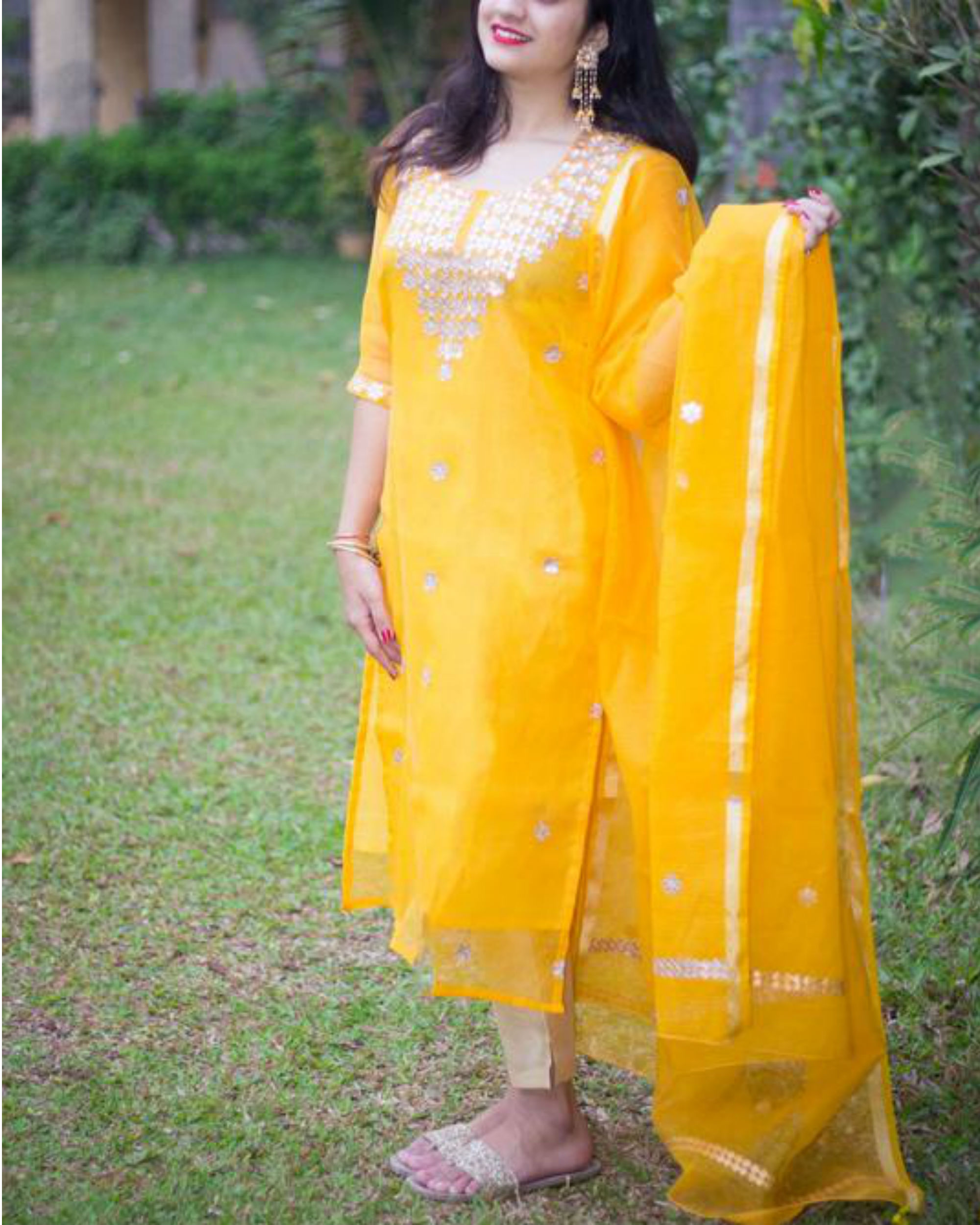 Yellow doriya gota suit set