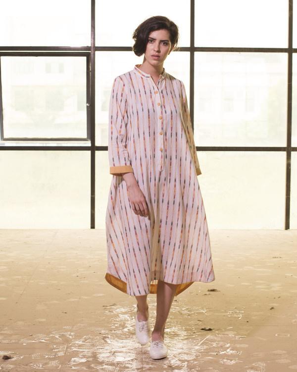Ivory ikat boho swing dress