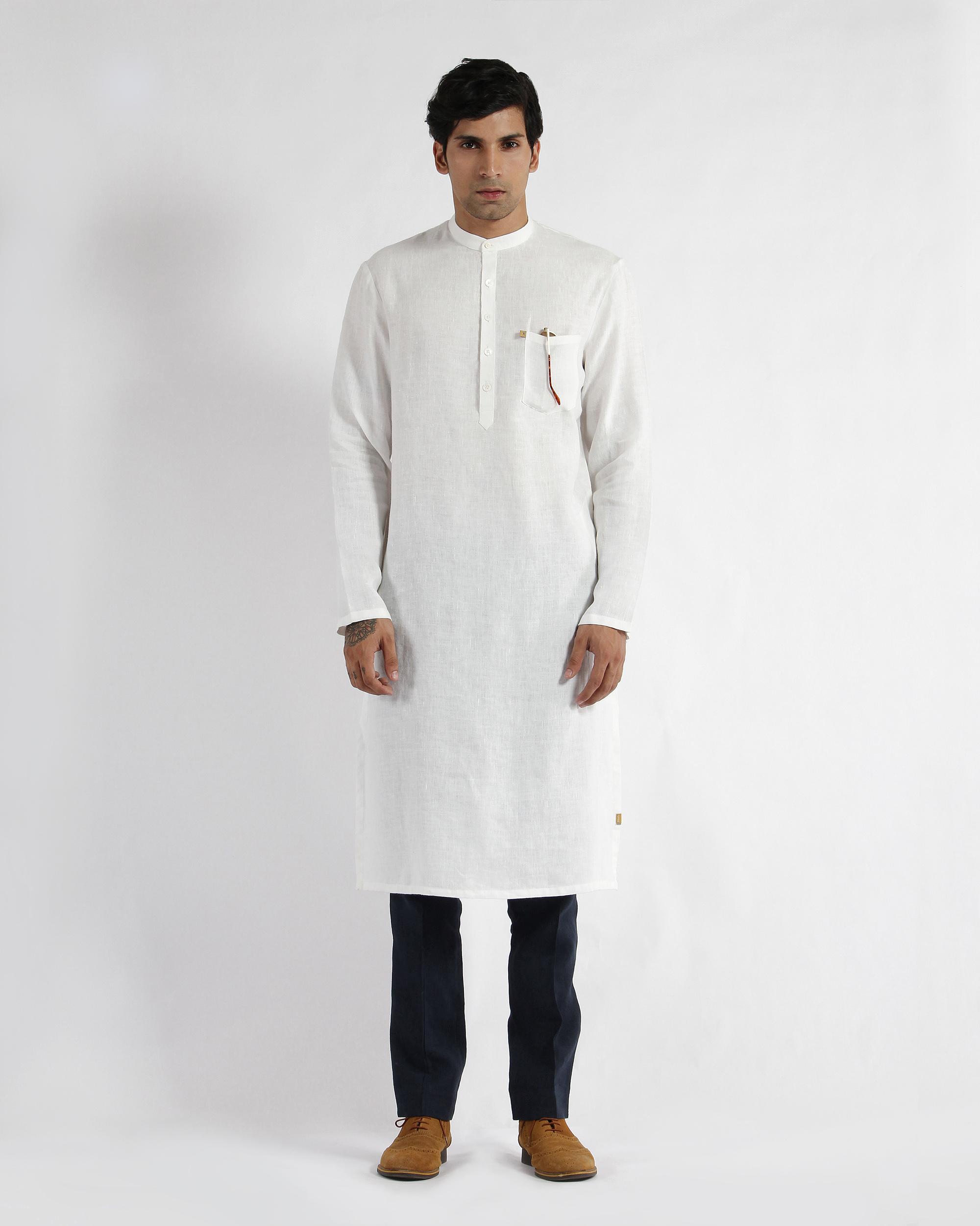 White linen slim collar long kurta