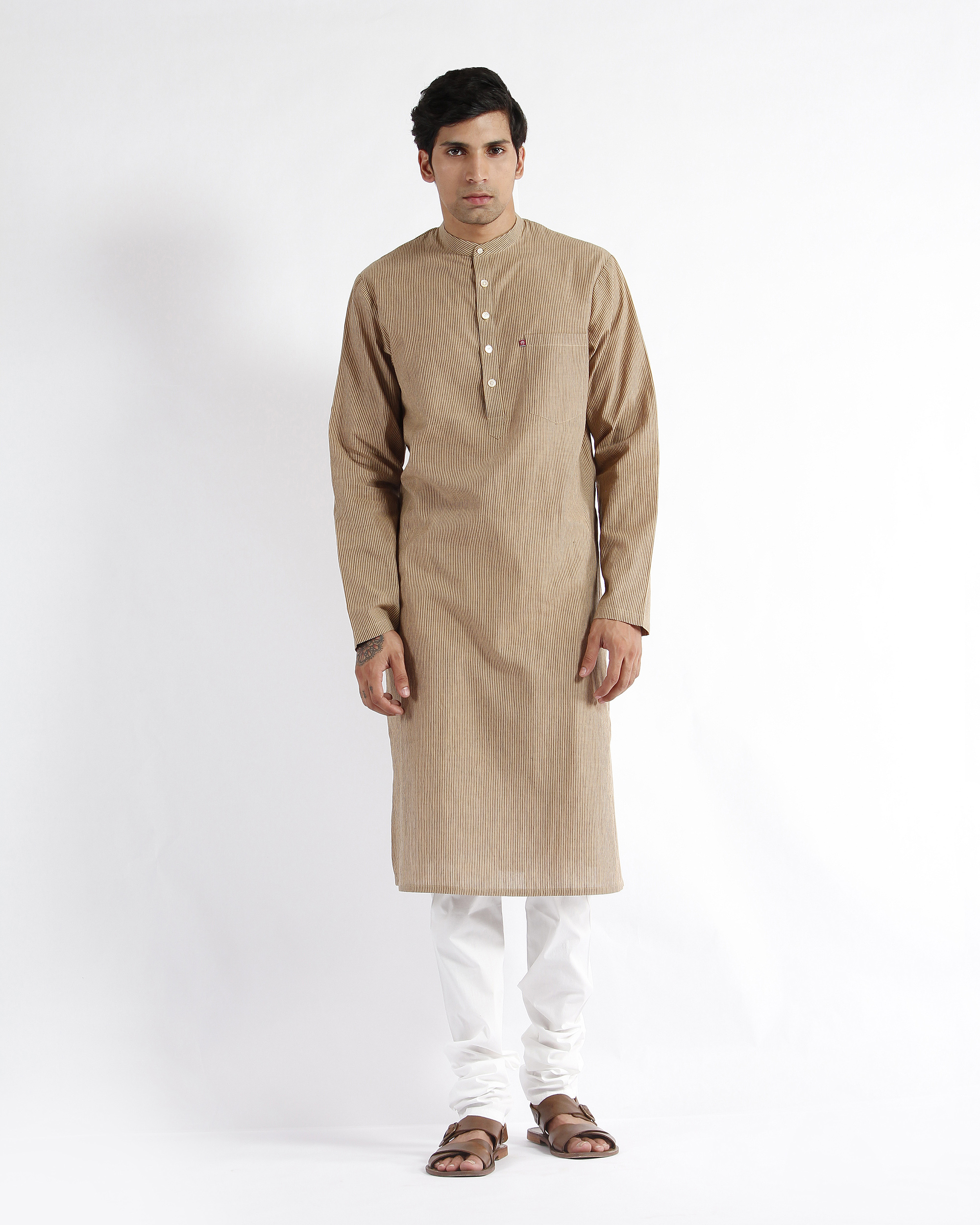 Beige stripe cotton long kurta