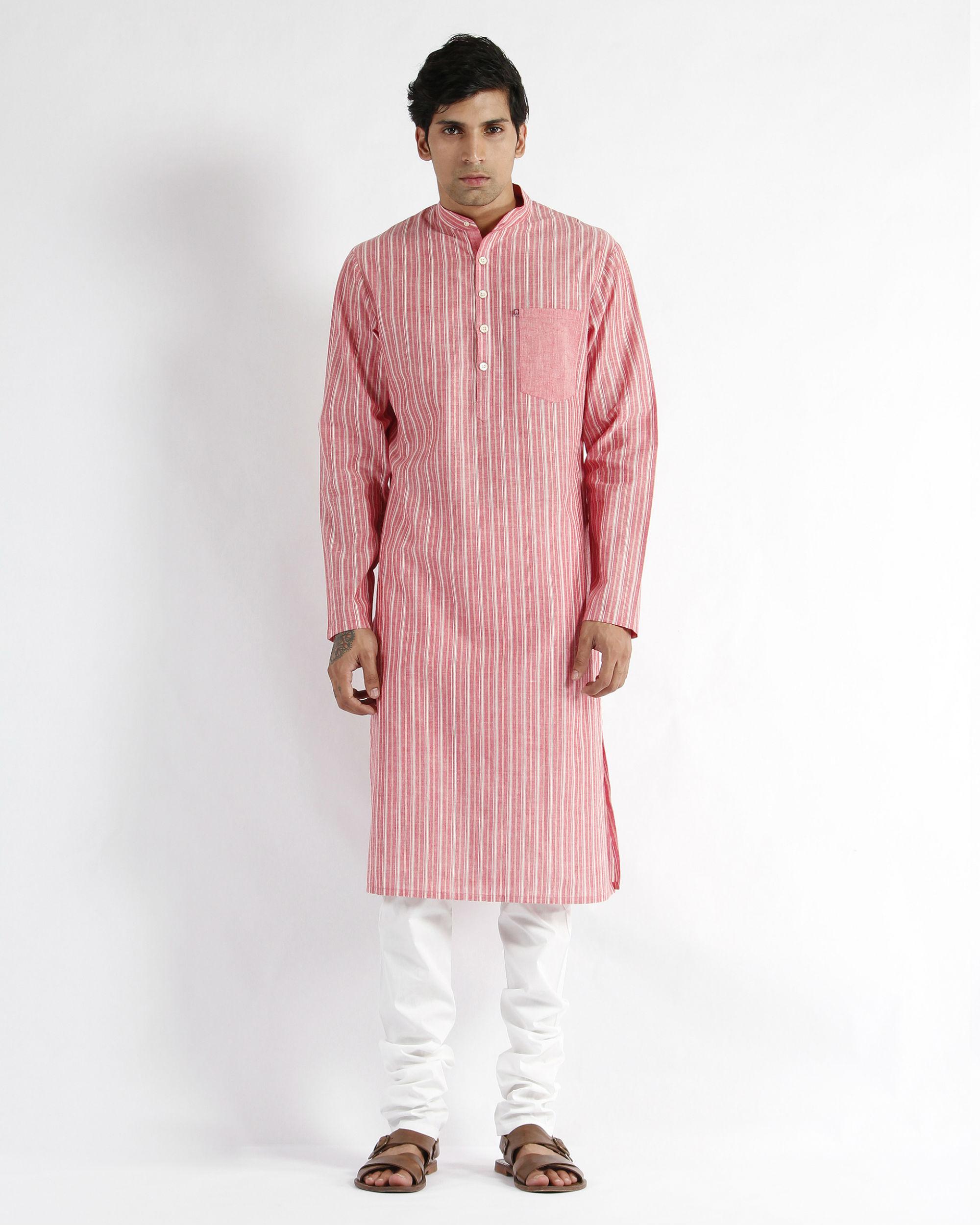 Handloom stripe cotton long kurta