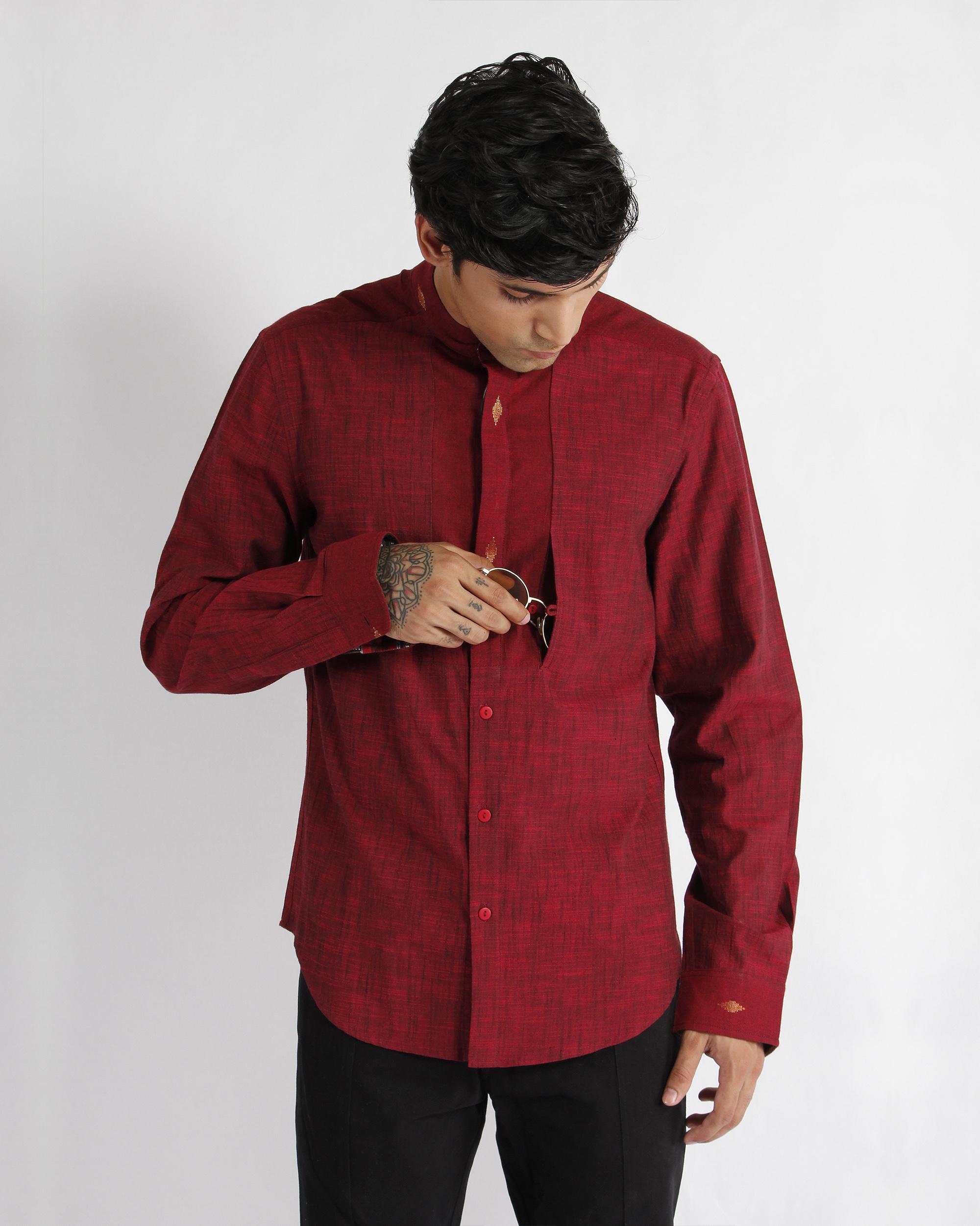 Maroon Handwoven Cotton Slub Dress Shirt