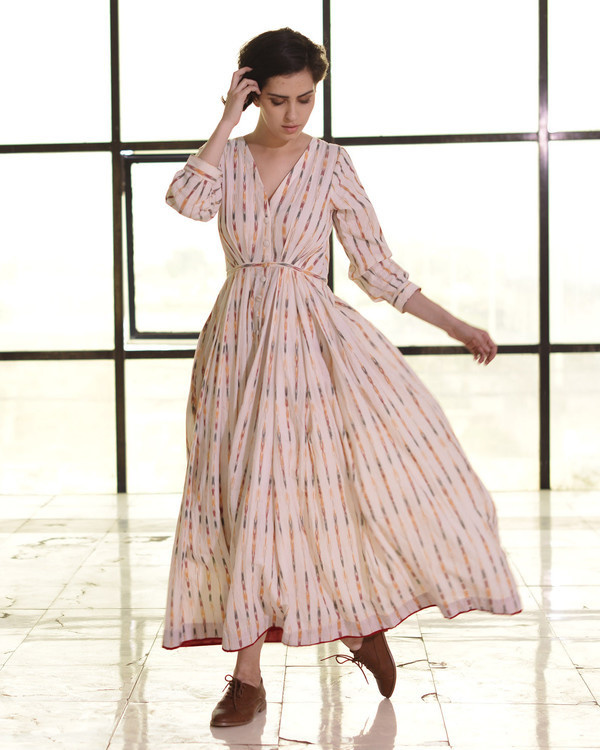 Ivory pleated ikat gown
