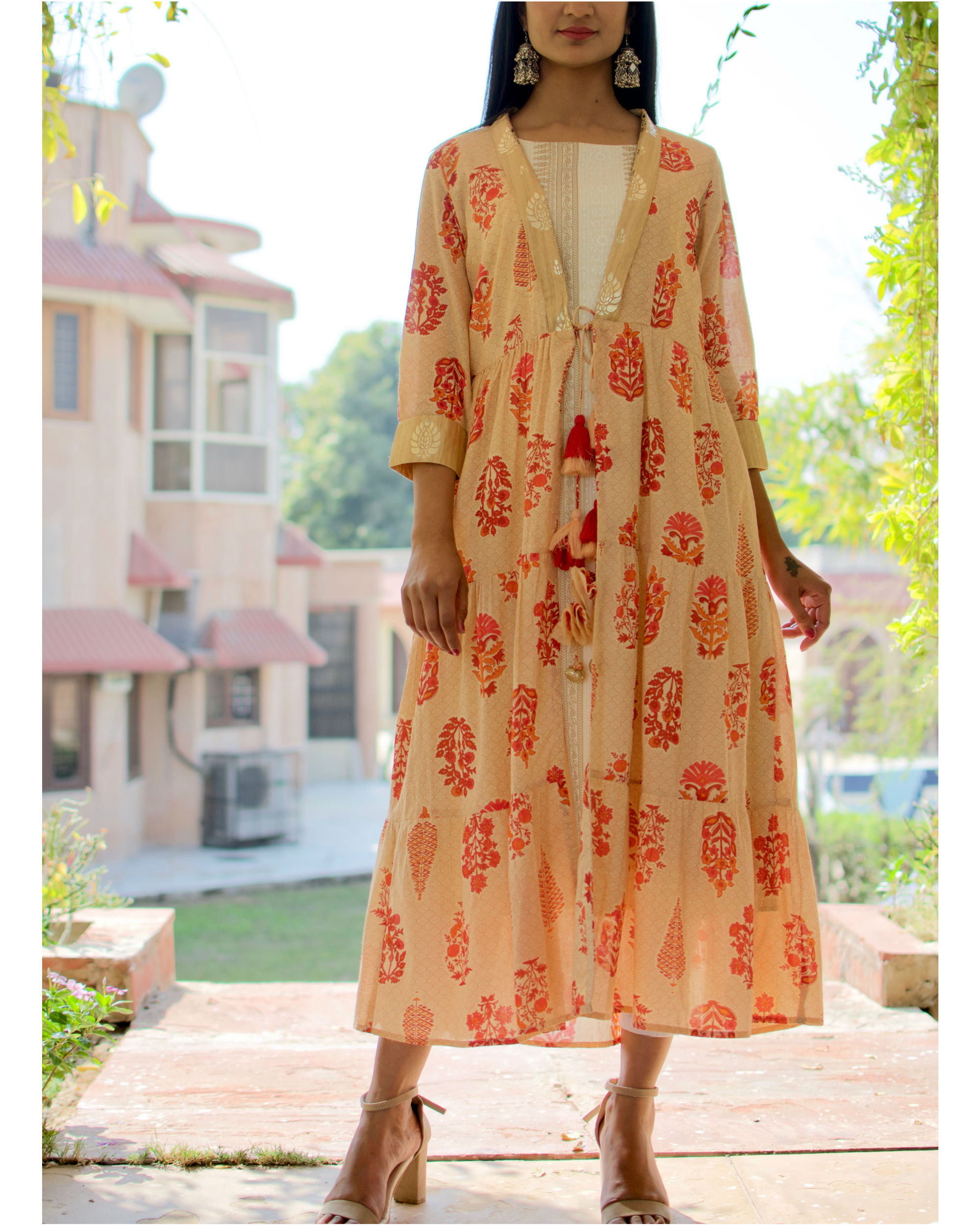 White And Gold Kurti With Floral Cape