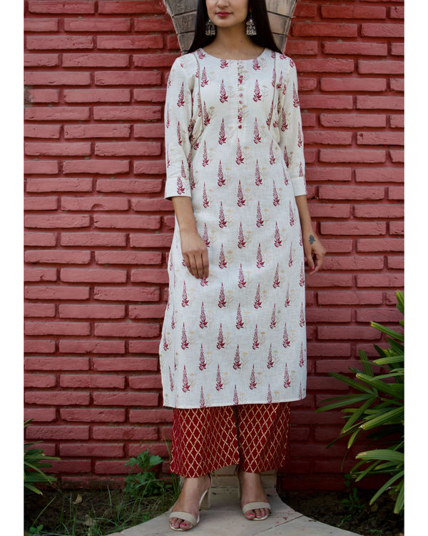 Red Block Printed Kurta Palazzo Set
