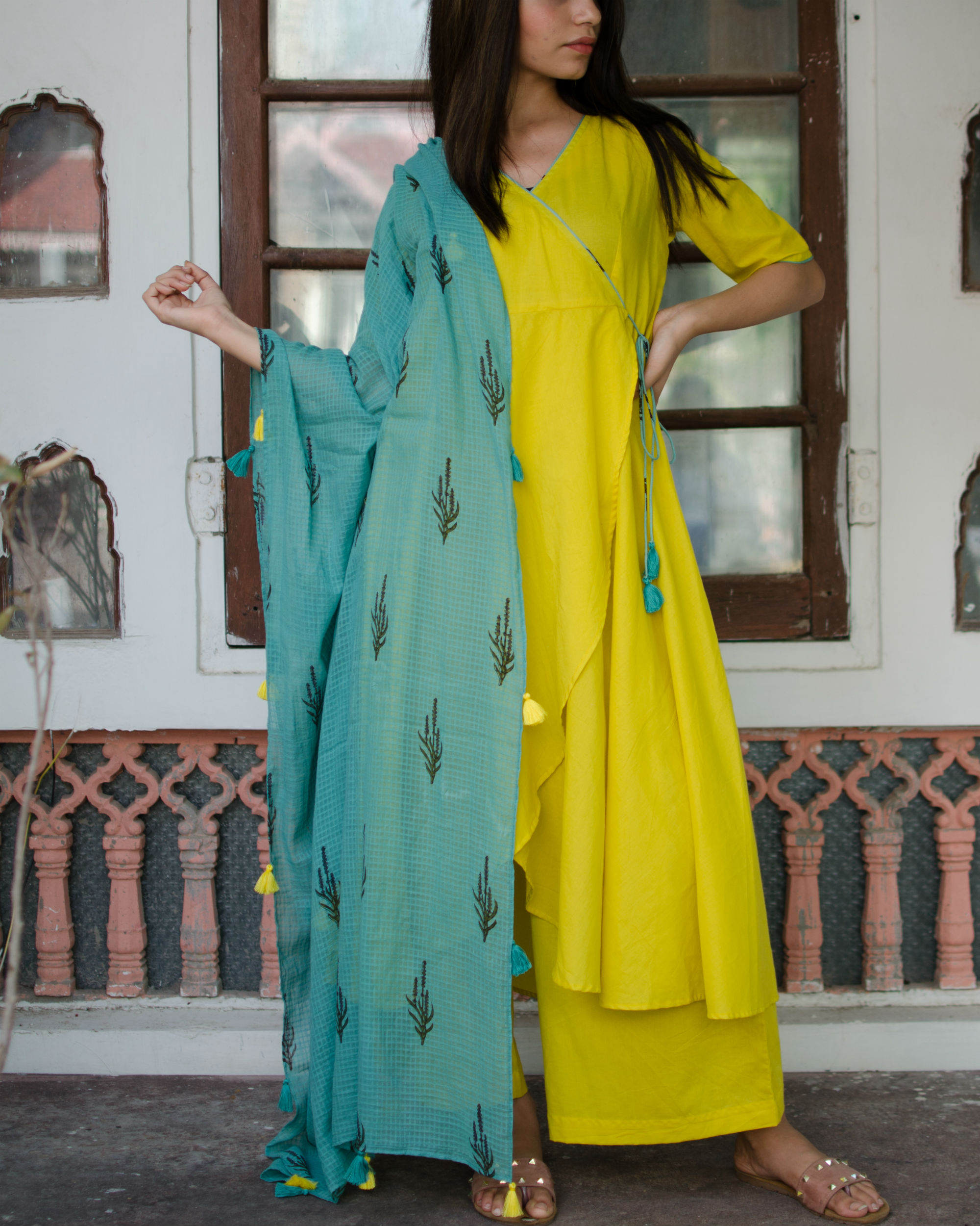 Circular angrakha with pants and dupatta