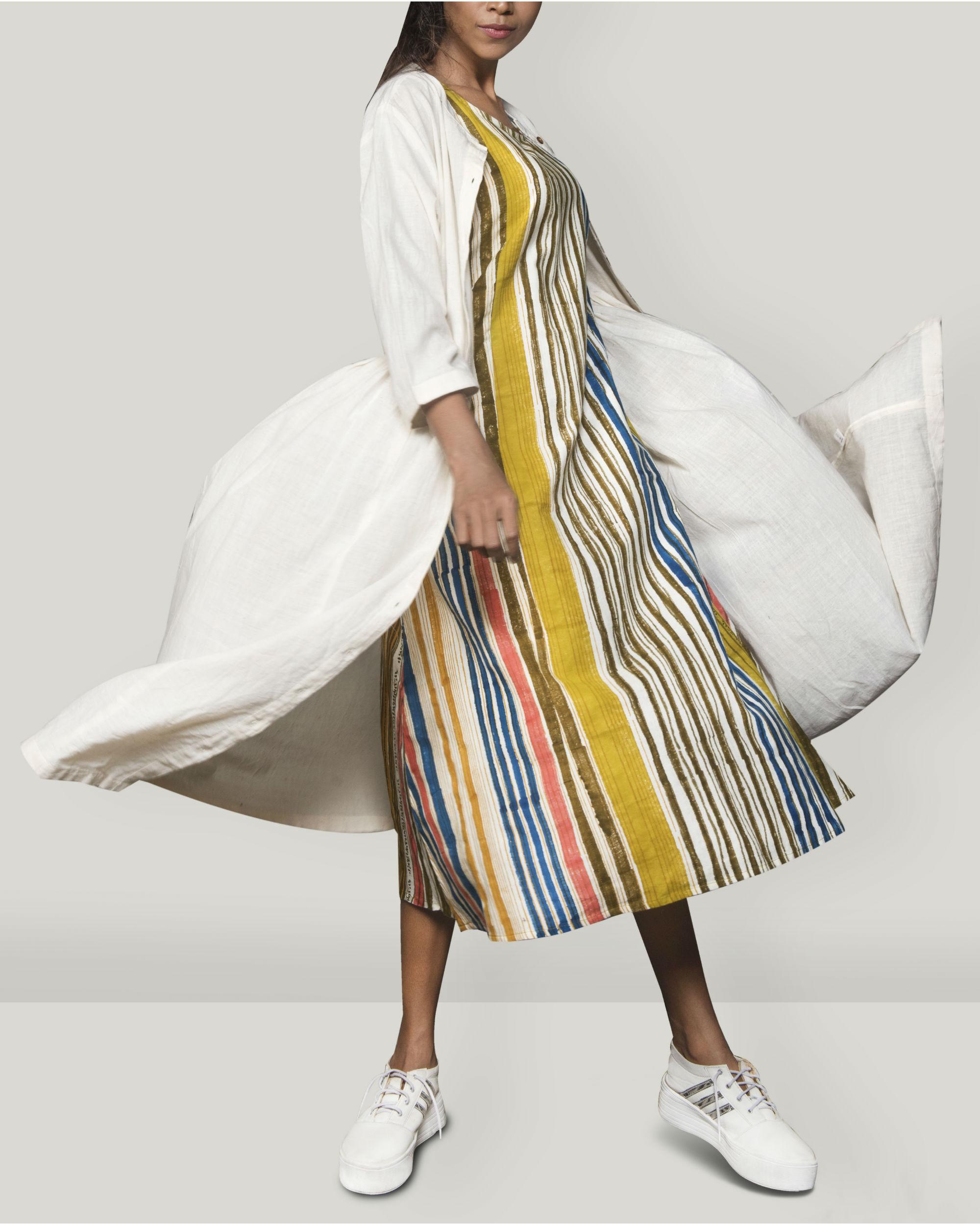 Pleated  Khadi jacket dress