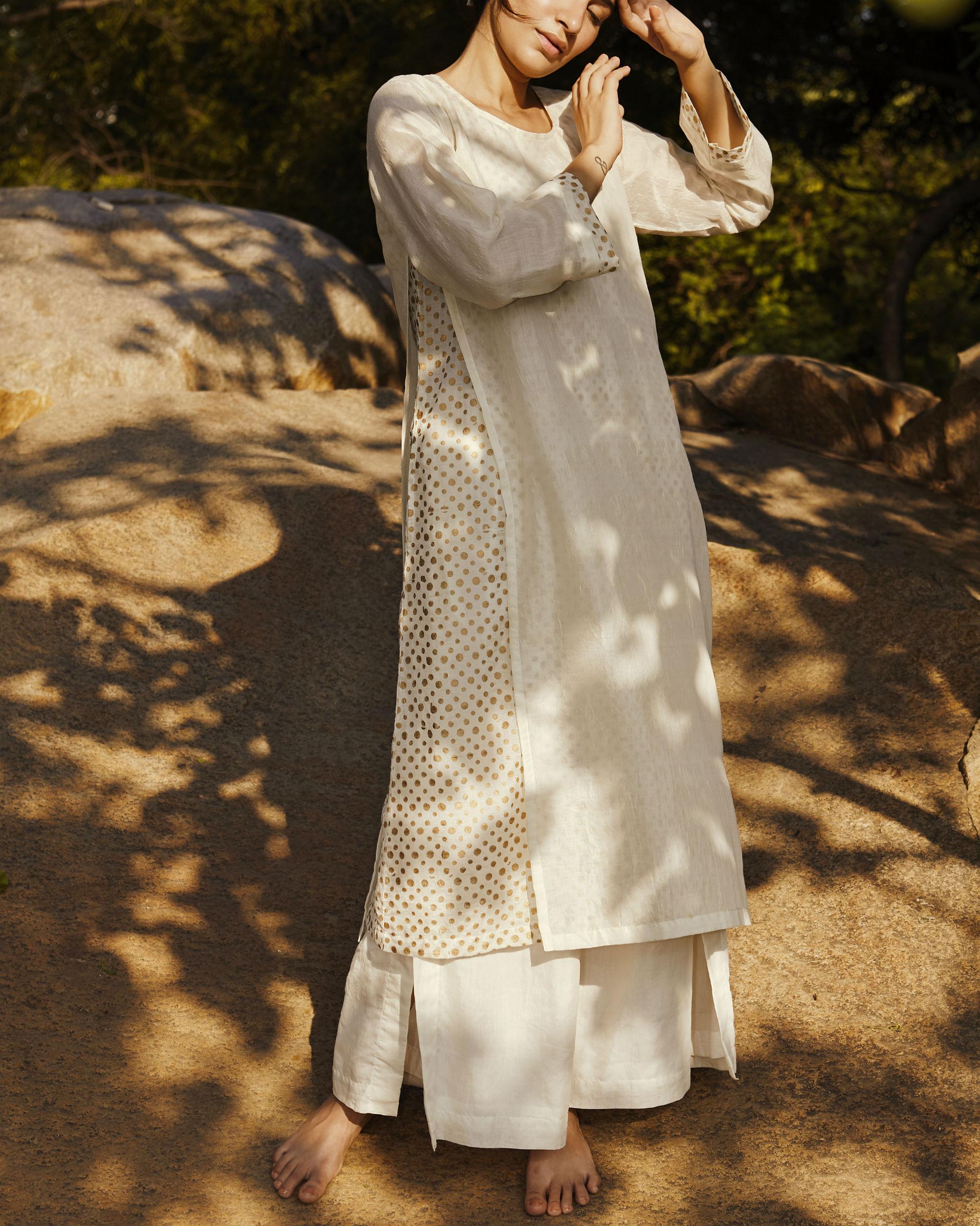 Ivory side slit polka tunic