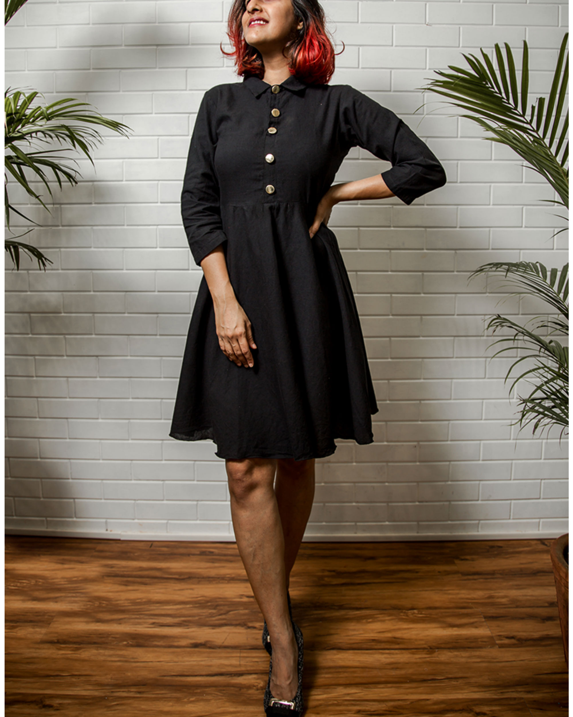 Black Button Down Dress By Why So Blue The Secret Label