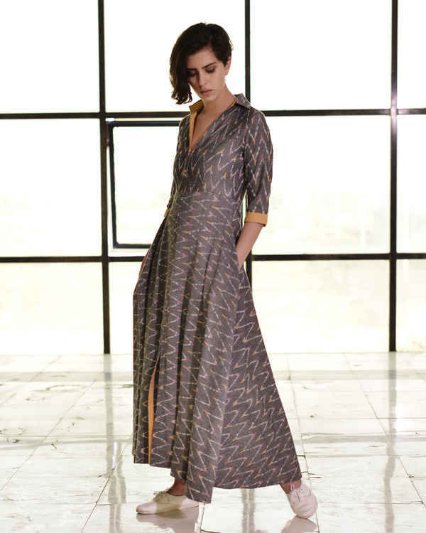 Steel grey ikat fit and flare gown