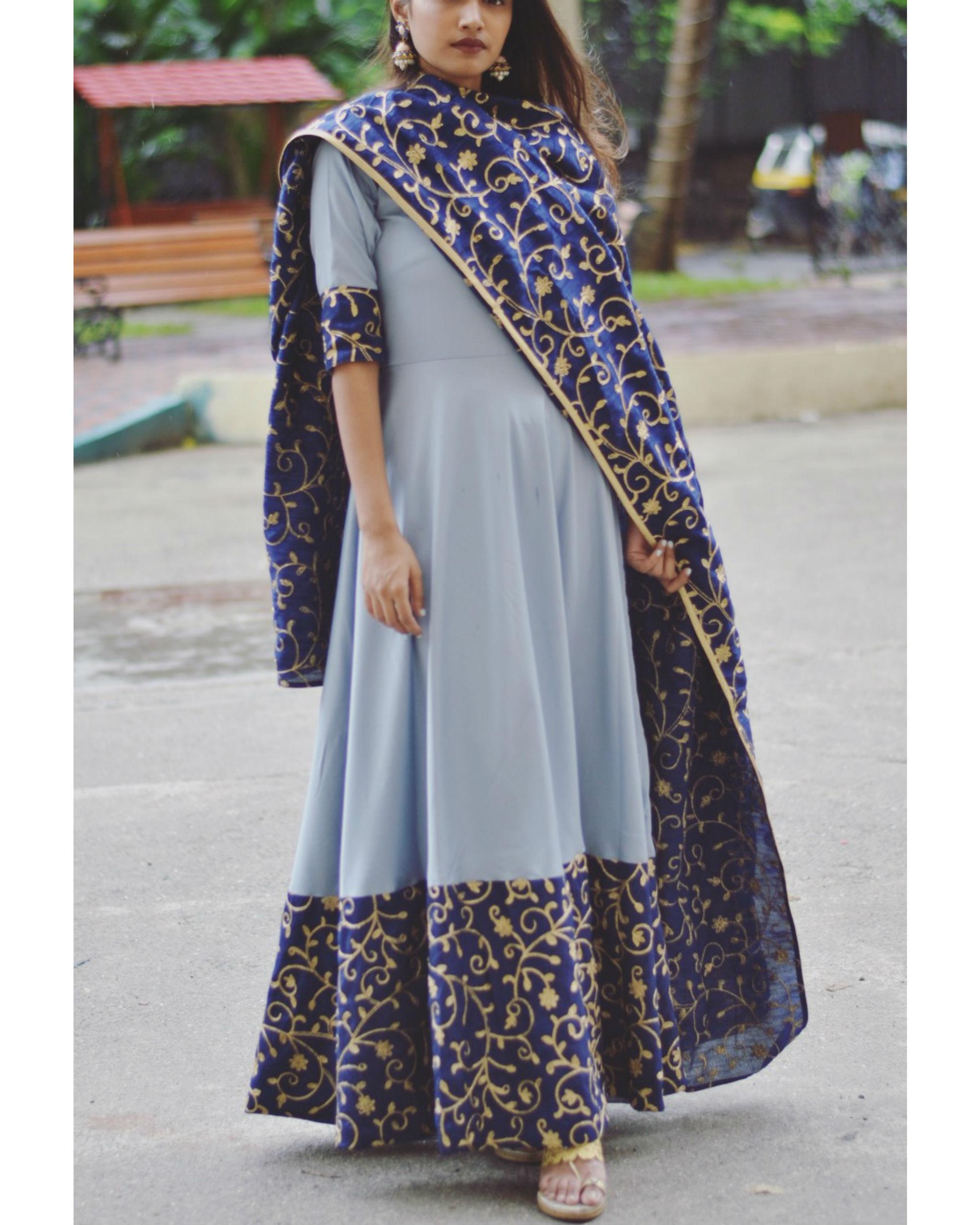 Grey border dress with dupatta