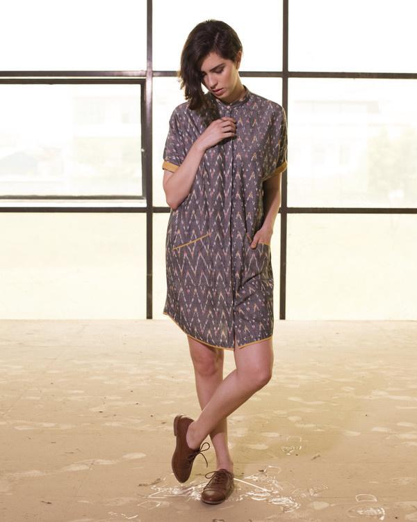 Steel grey tapered hemline shirt dress