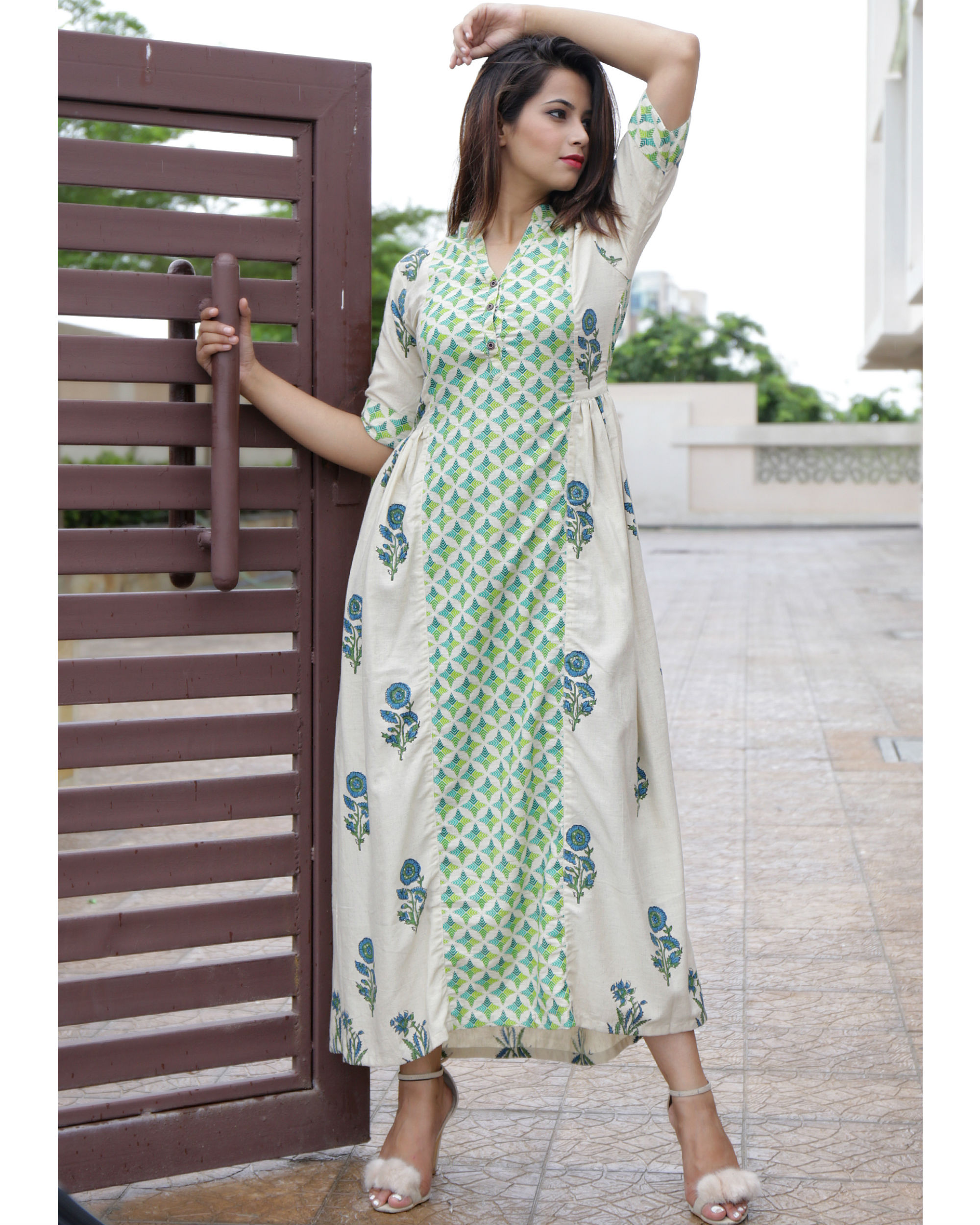 Beige printed straight dress