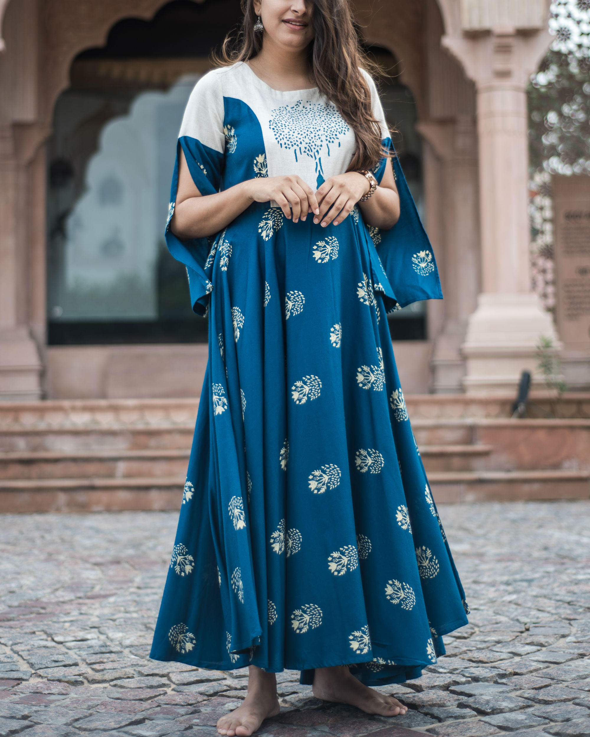 7652ac5dcf2bf Blue and off white anarkali by Label Harsha Khatry