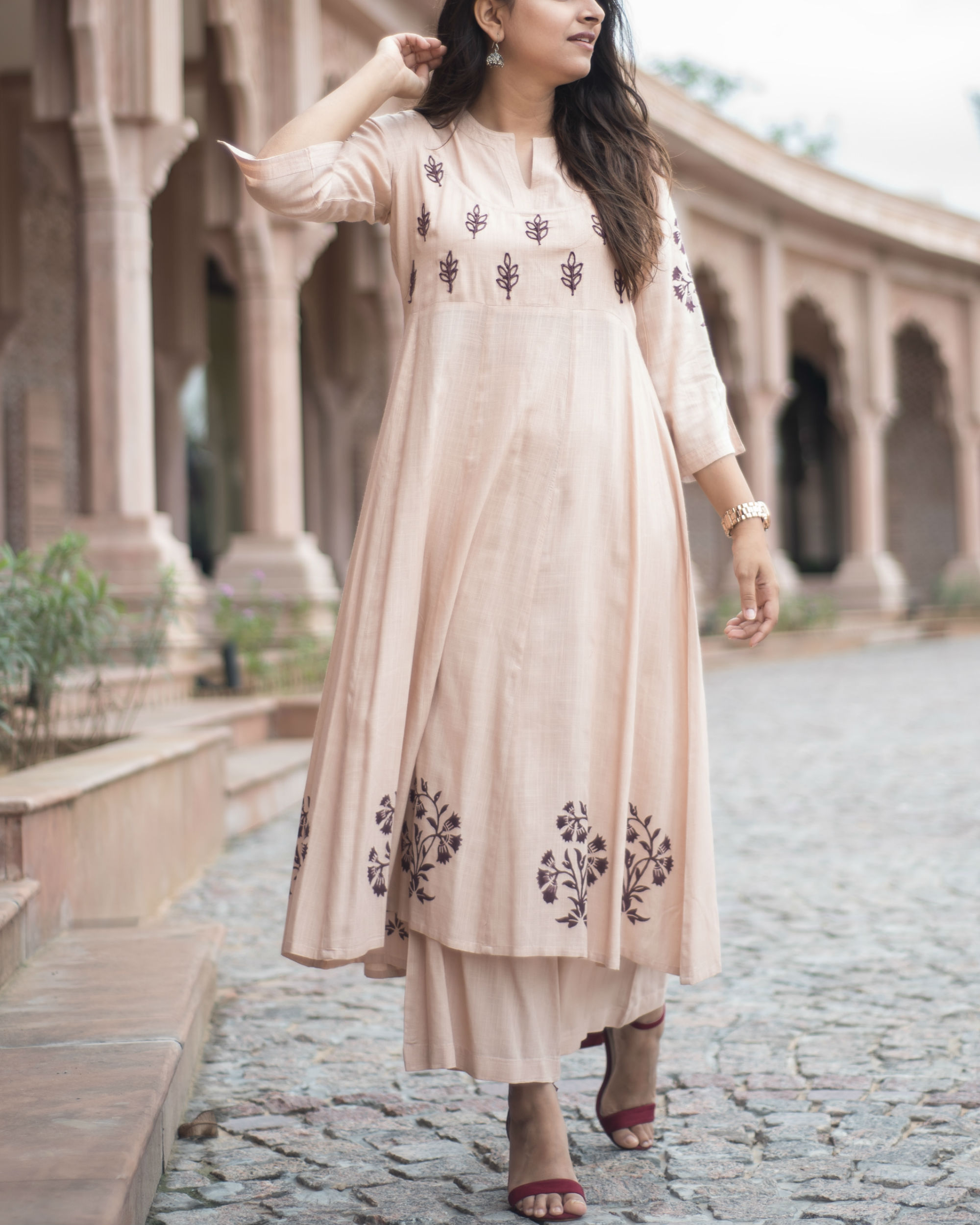 e30c4b0056f35 Pastel peach anarkali set by Label Harsha Khatry