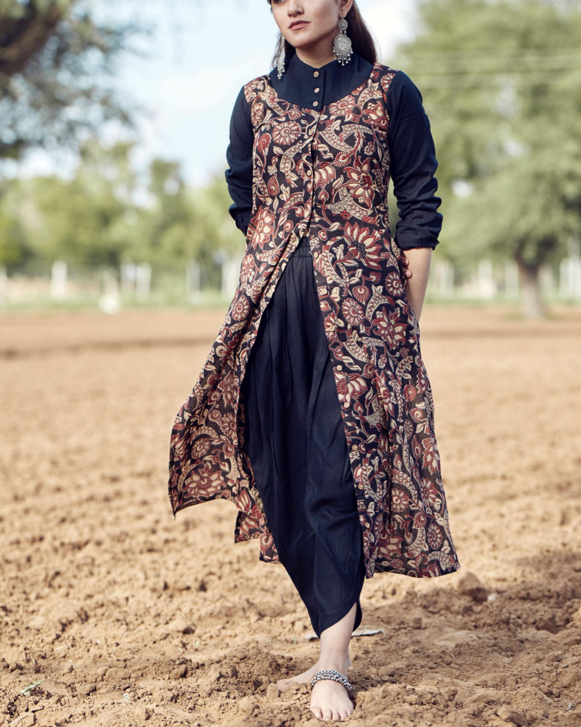 e667cf58fa4c9 Mughal print shirt and dhoti set by Label Harsha Khatry