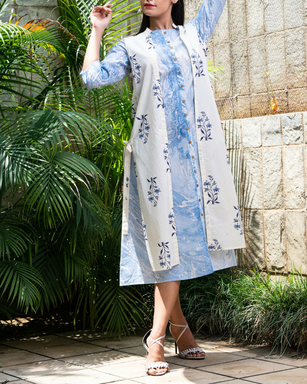 Blue marble kurta with jacket