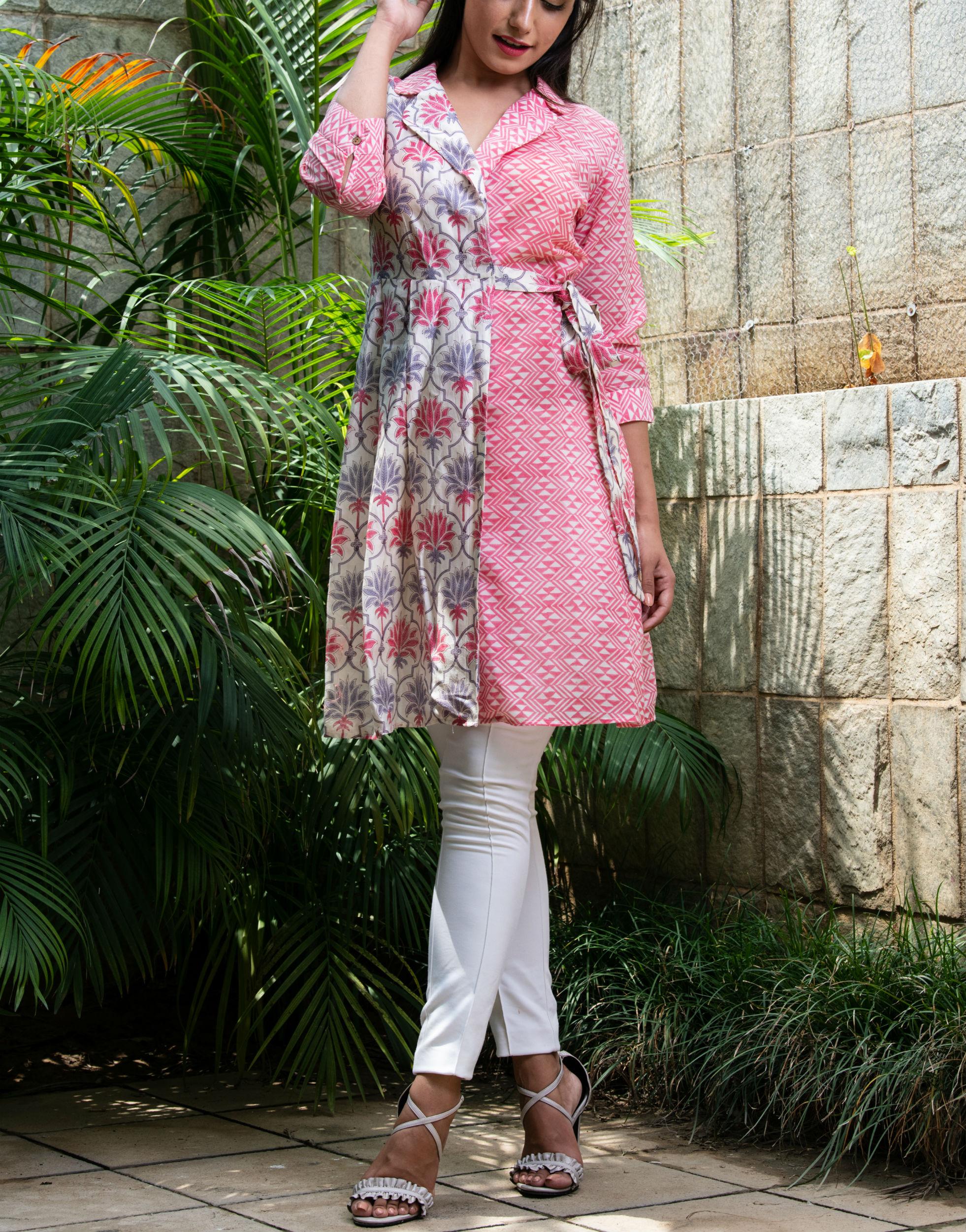 Chanderi mix tie up dress