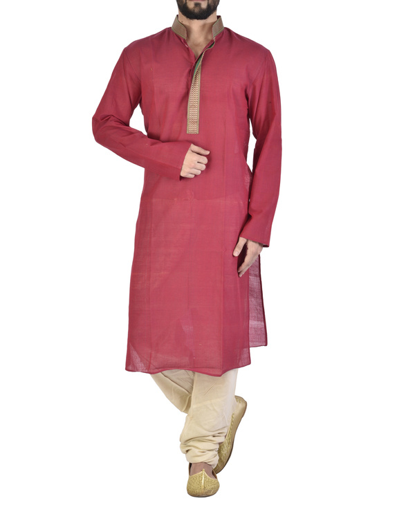 Rasperry Cotton kurta