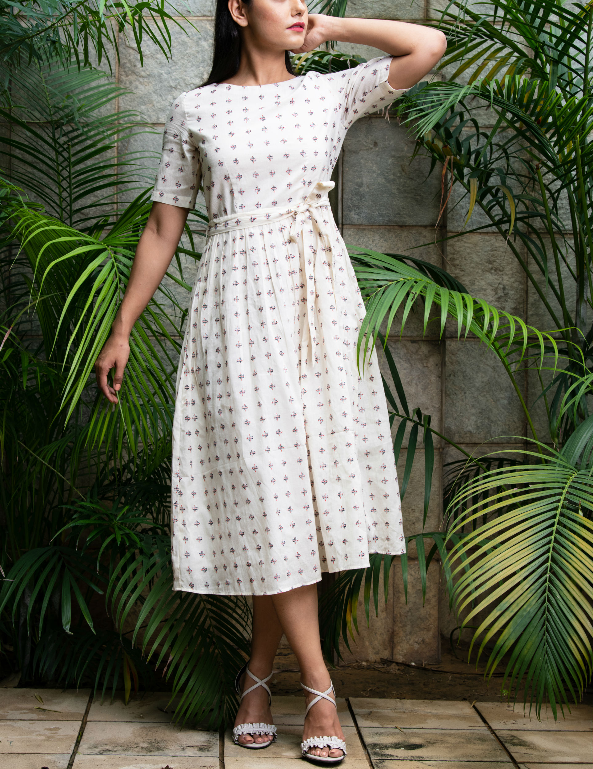 Hand woven offwhite gathered dress