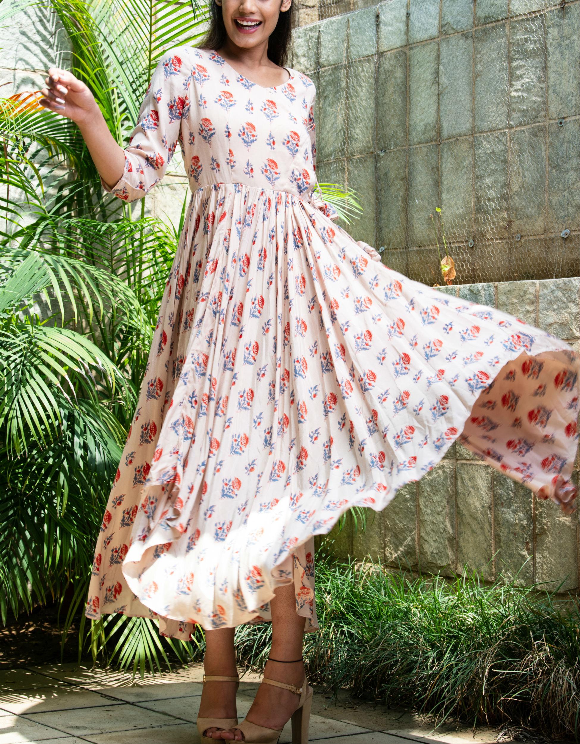 Beige angrakha style dress