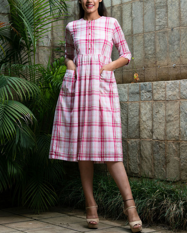 Pink chequered cotton dress