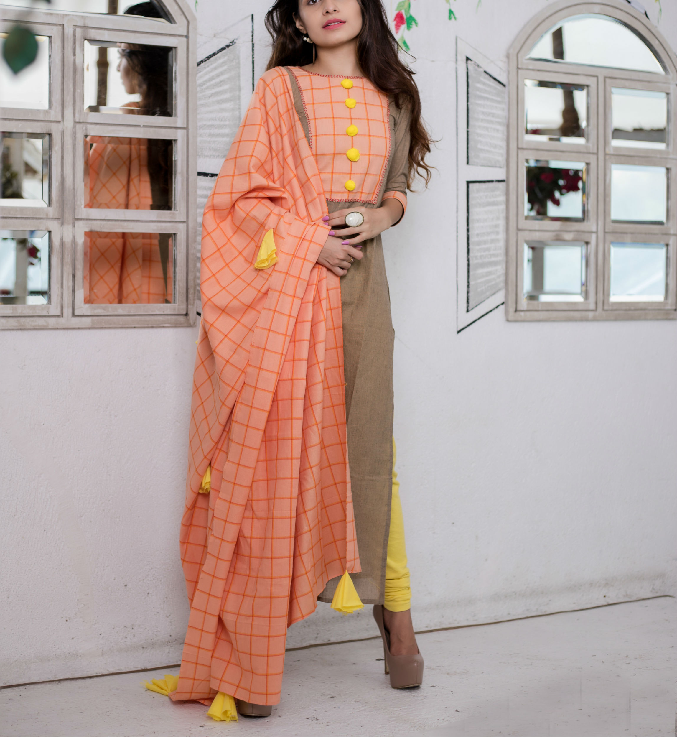 BROWN DRESS WITH DUPATTA