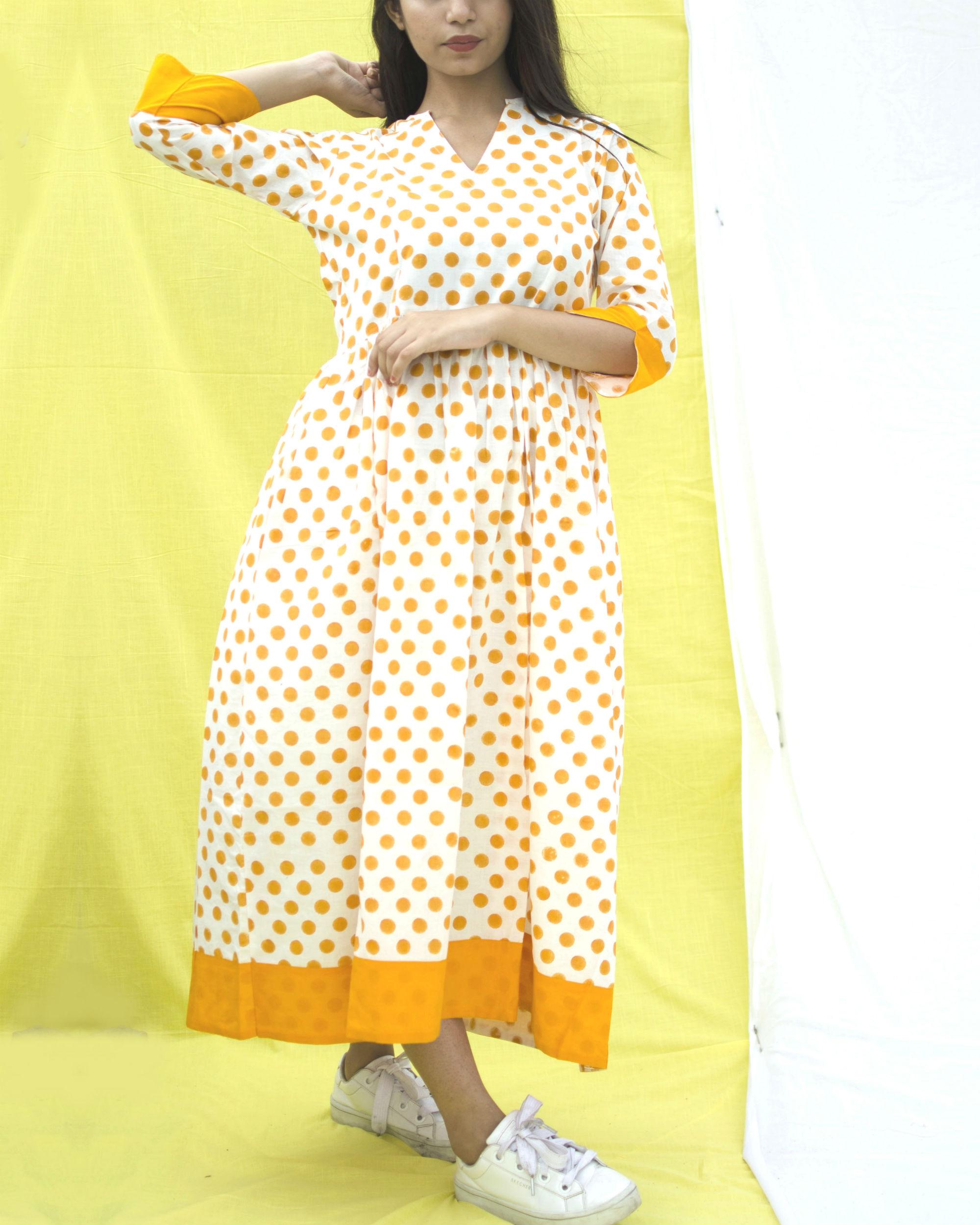Orange polka dress