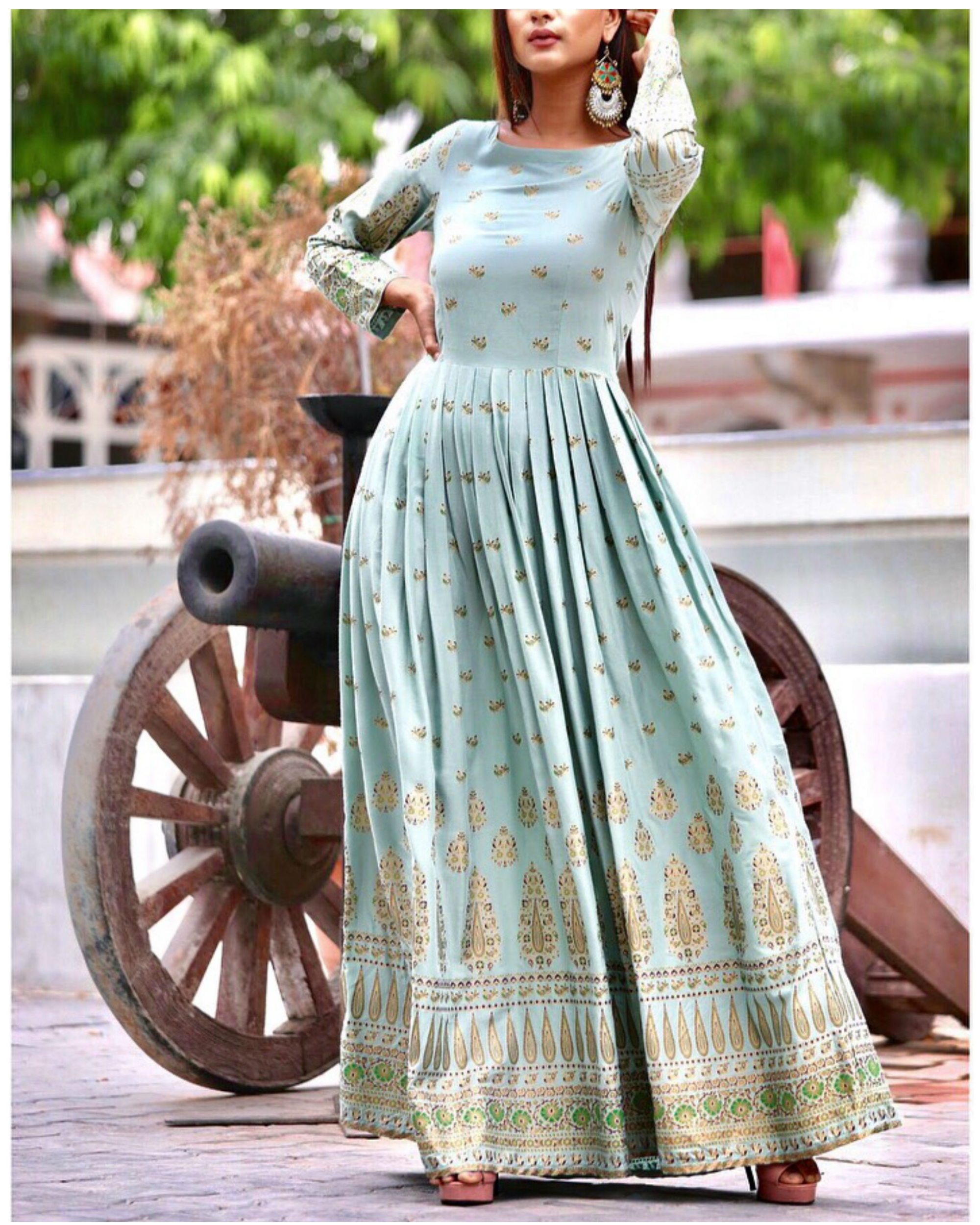 Pista green pleated maxi